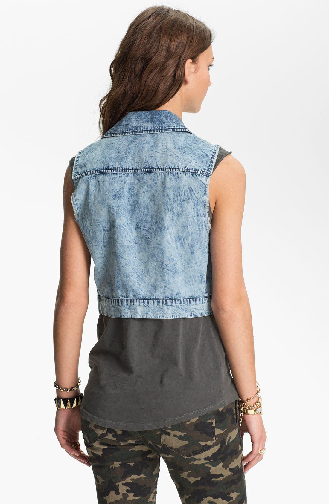 Alternate Image 2  - Mimi Chica Acid Wash Crop Vest (Juniors)