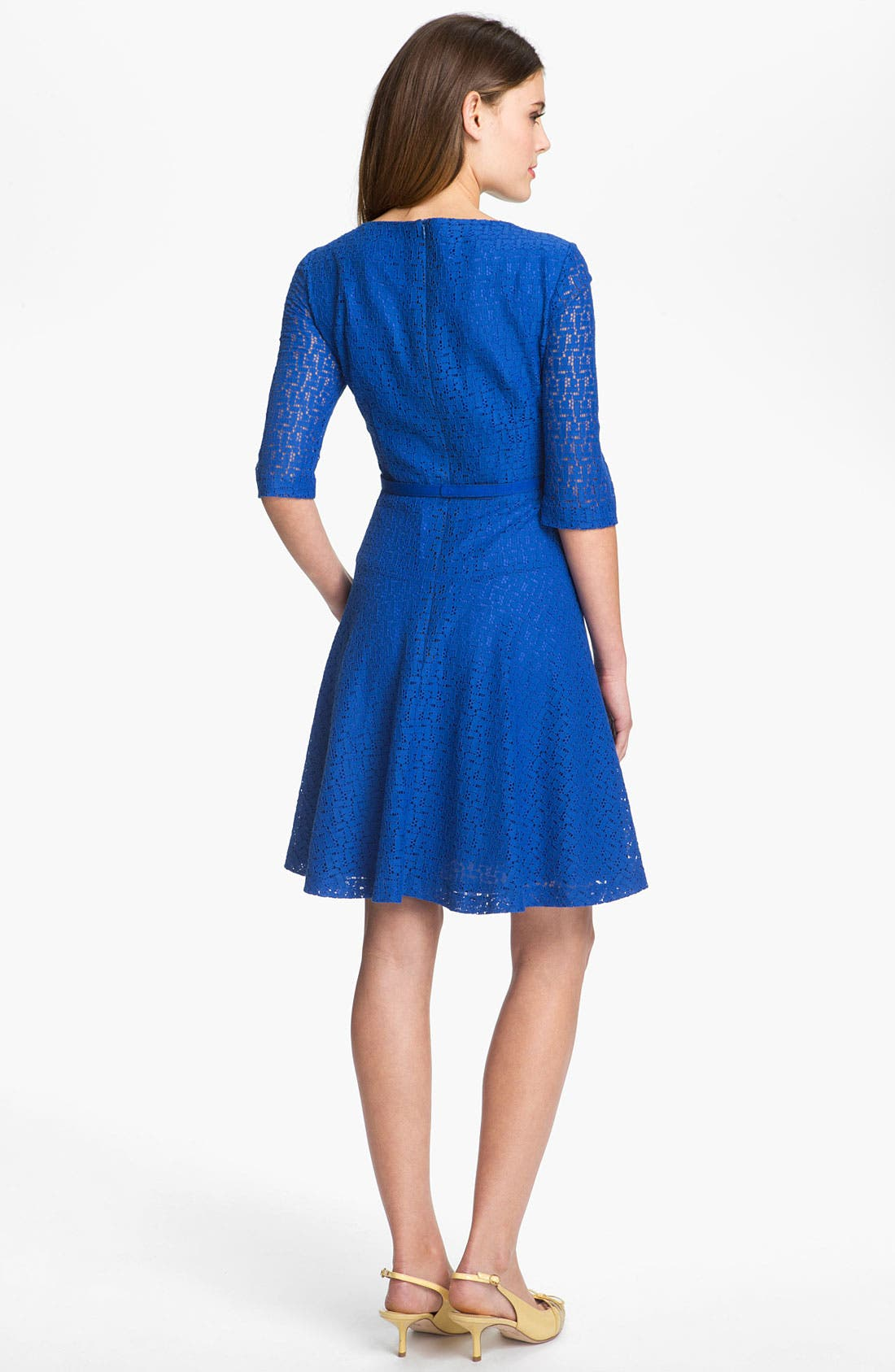 Alternate Image 2  - Tahari Belted Lace Fit & Flare Dress