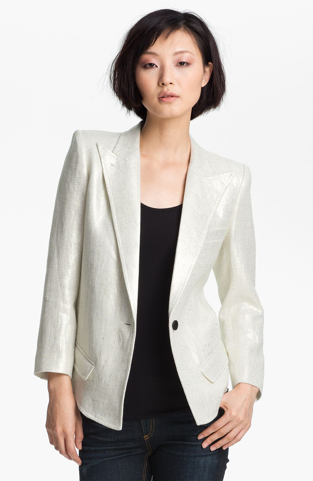 Alternate Image 1 Selected - Smythe Metallic Coated Linen Blazer