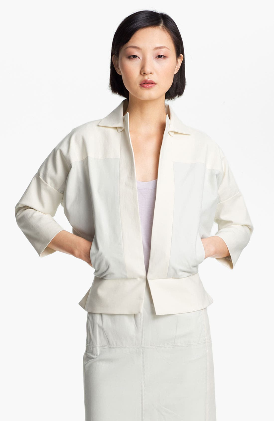 Alternate Image 1 Selected - Halston Heritage Leather Detail Cotton Jacket