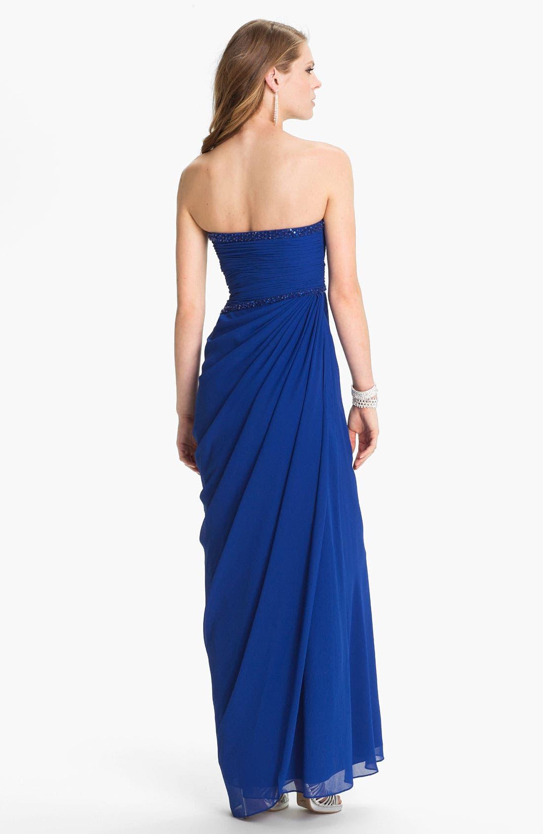 Alternate Image 2  - Aidan Mattox Embellished Ruched Chiffon Gown