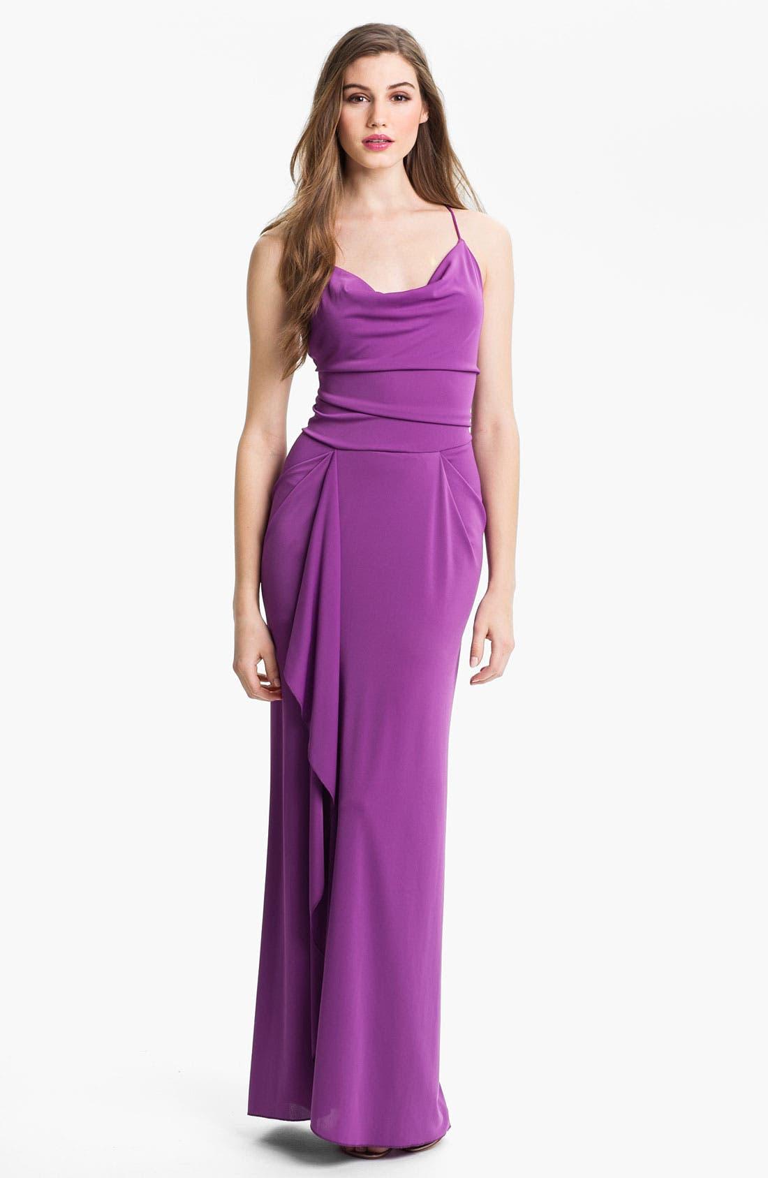 Main Image - BCBGMAXAZRIA Crisscross Back Jersey Gown