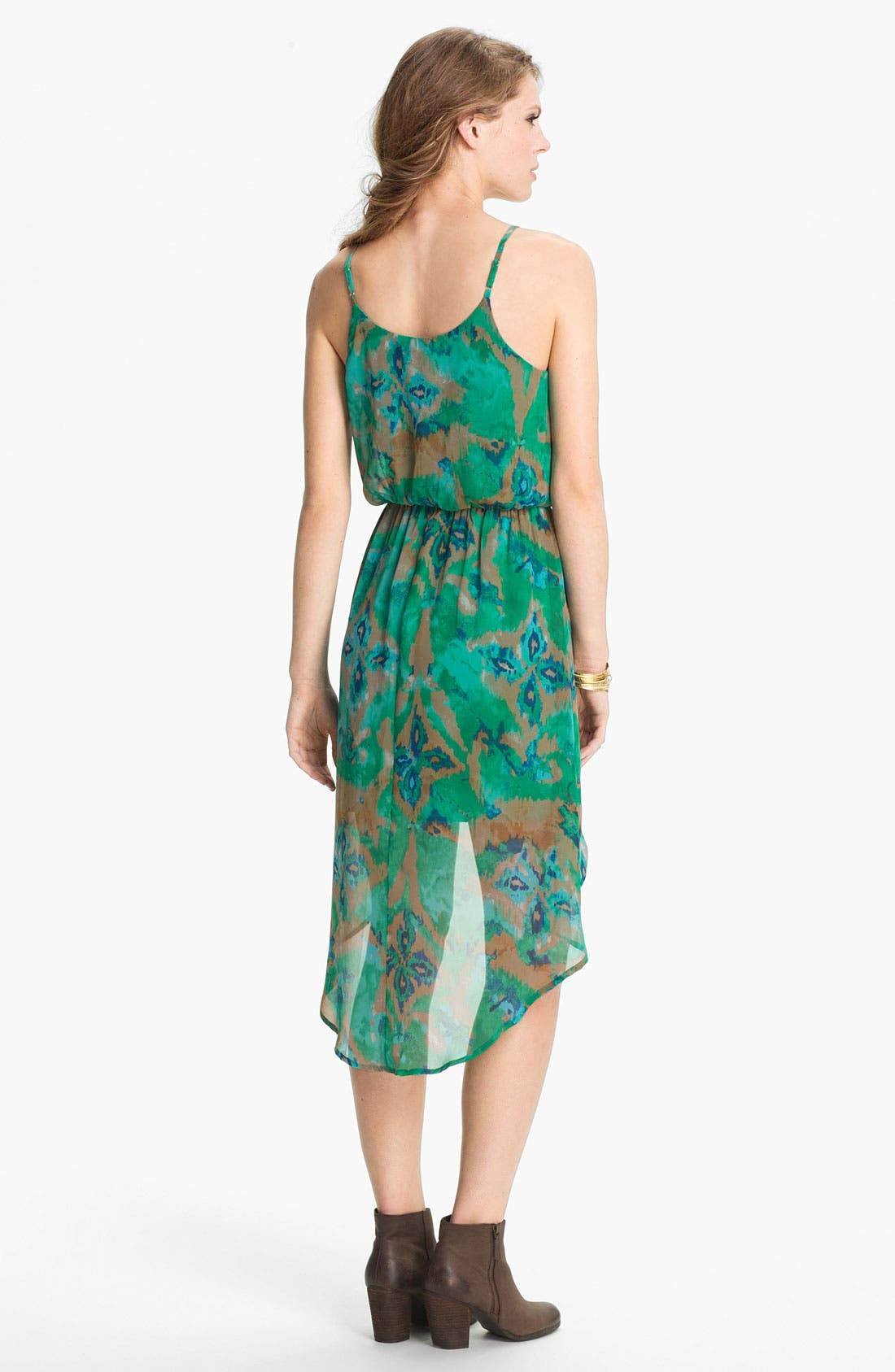 Alternate Image 2  - Lush High/Low Print Chiffon Dress (Juniors)