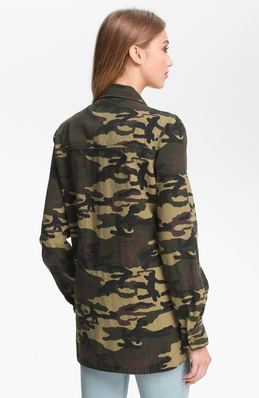 Alternate Image 2  - Lush Studded Camo Print Army Jacket (Juniors)