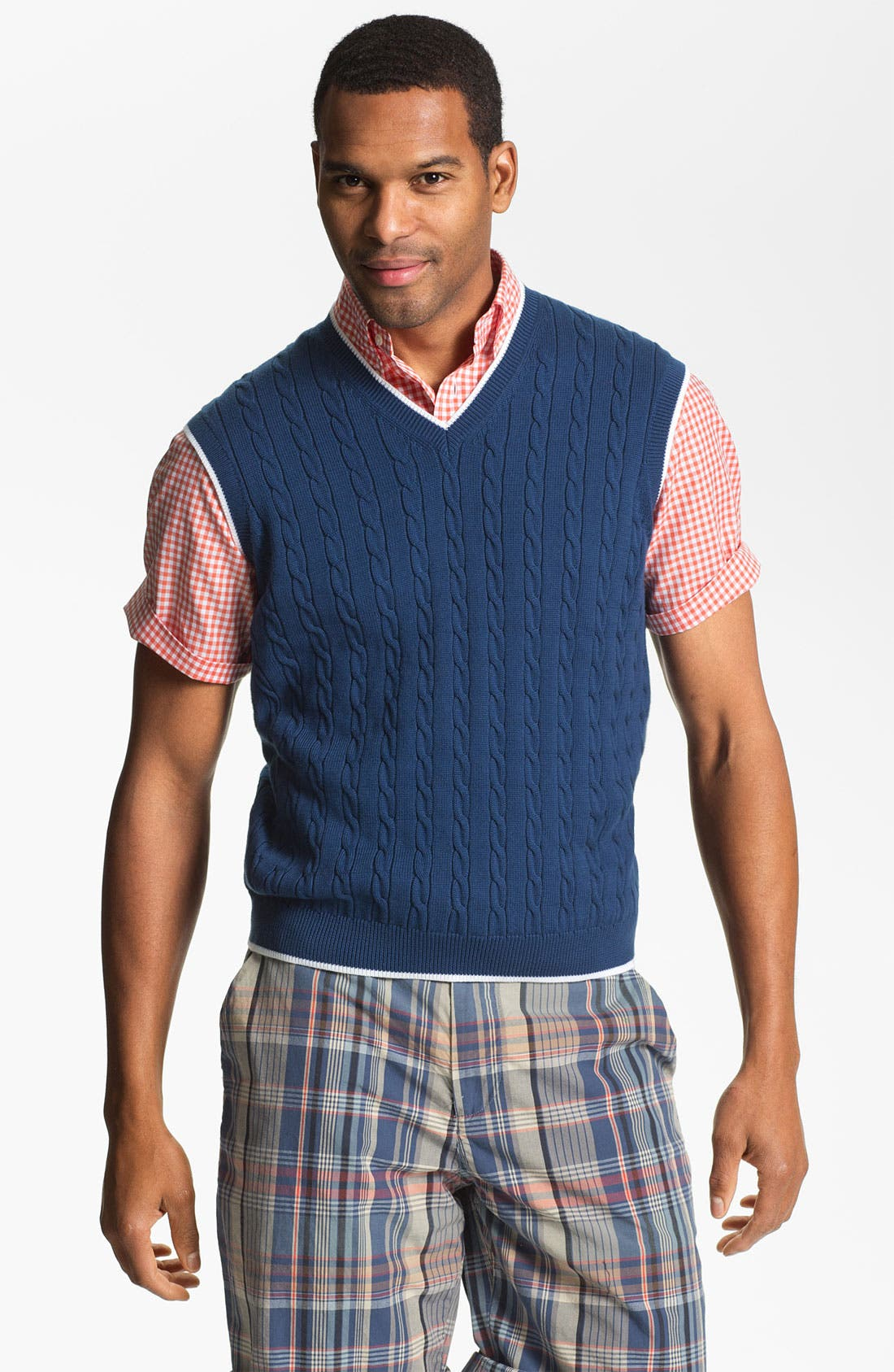Main Image - Brooks Brothers Cable Knit Sweater Vest