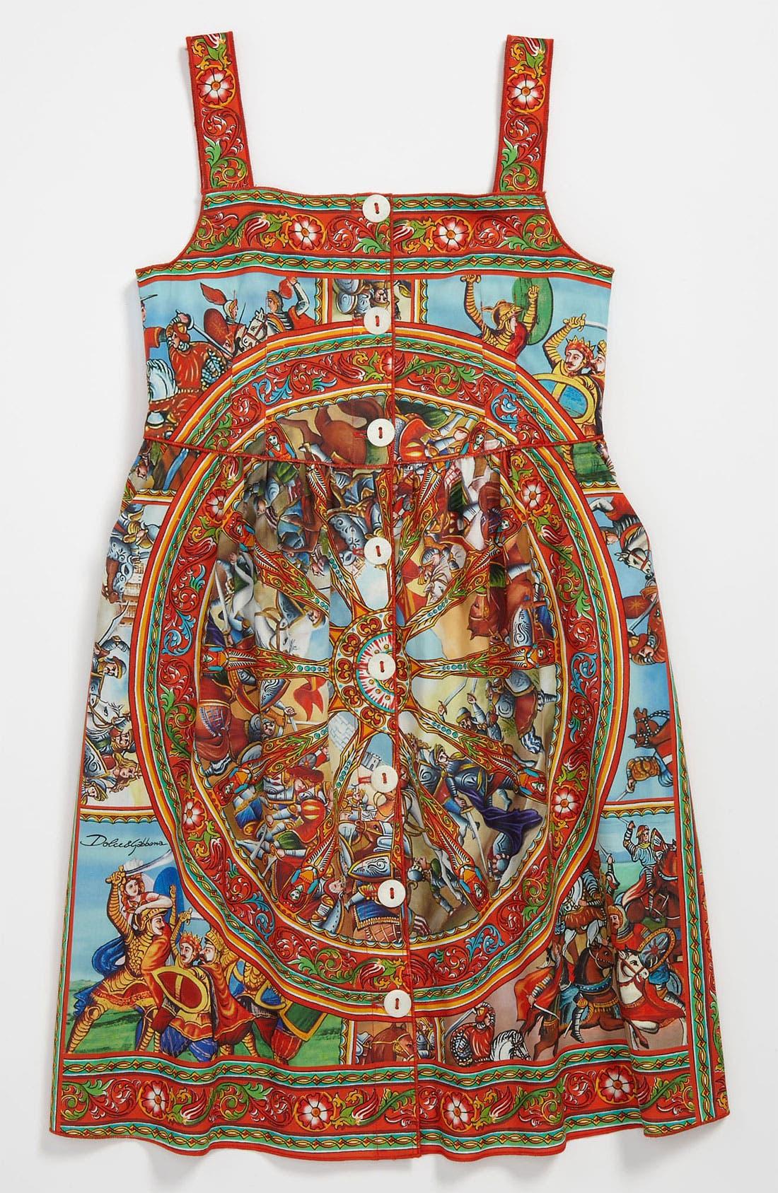 Main Image - Dolce&Gabbana 'St. Carretto' Poplin Dress (Little Girls & Big Girls)