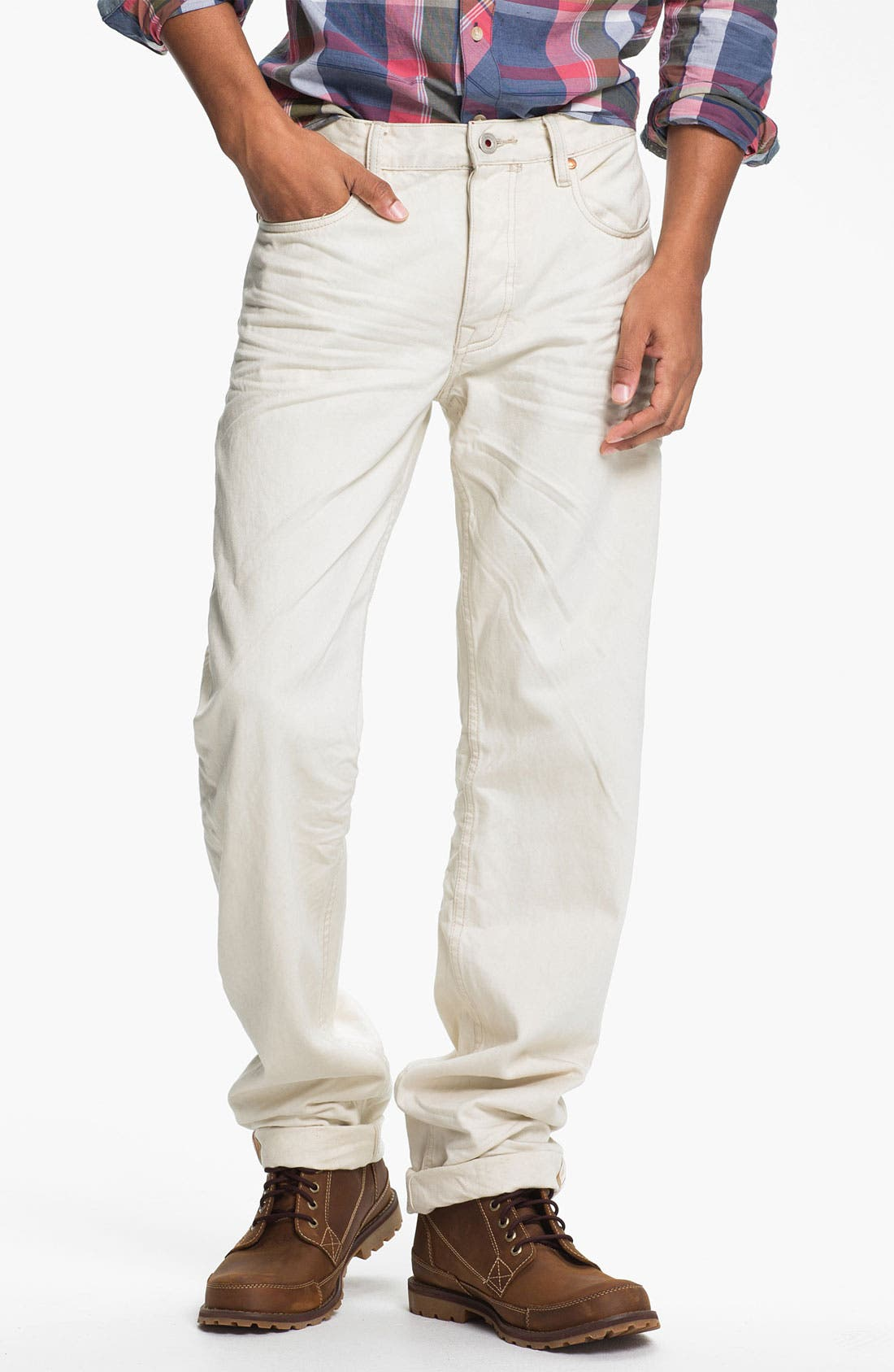 Alternate Image 2  - Denim & Leathers by Andrew Marc Straight Leg Jeans (White)
