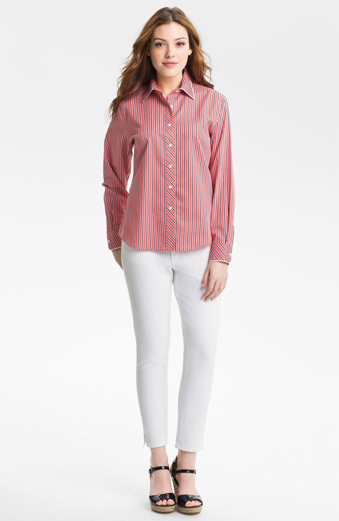 Alternate Image 1 Selected - Foxcroft 'Papaya Stripe' Shirt (Petite)