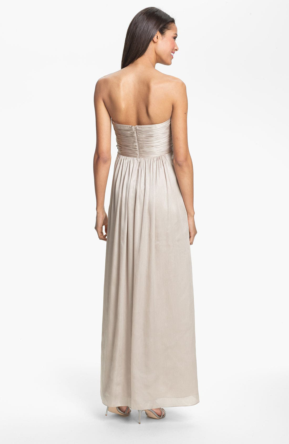 Alternate Image 2  - Calvin Klein V-Neck Textured Metallic Jersey Gown