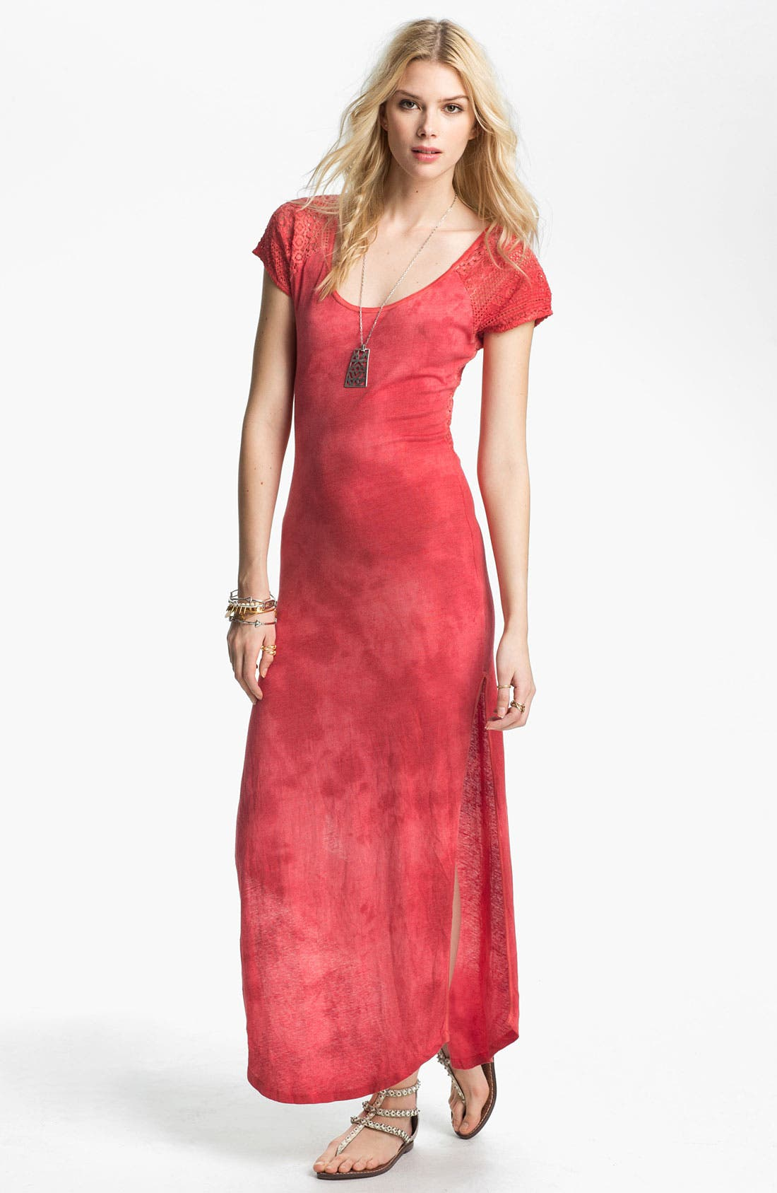Main Image - Free People Lace Detail Tie Dye Maxi Dress