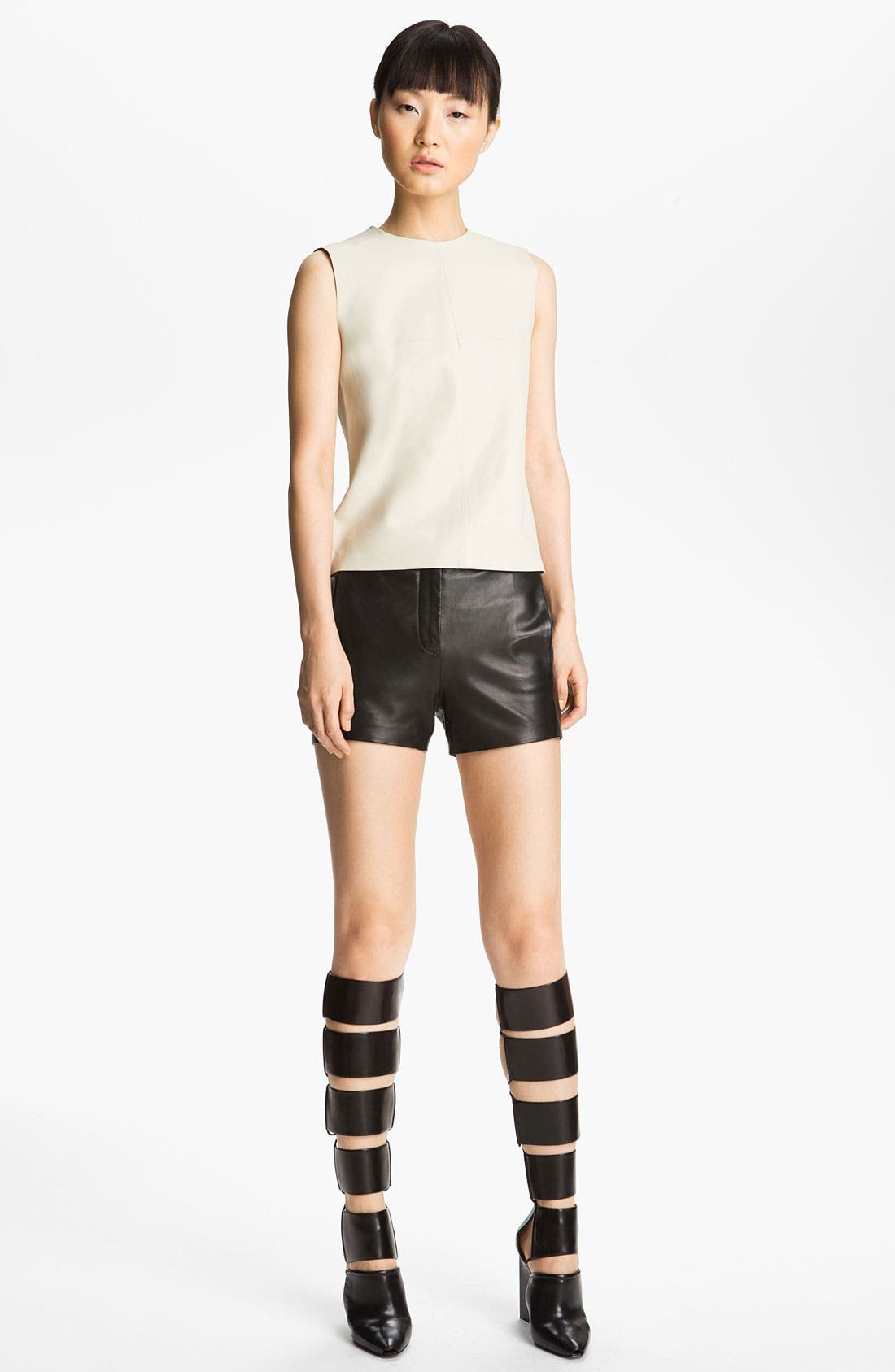 Alternate Image 1 Selected - T by Alexander Wang Leather Shell & Shorts