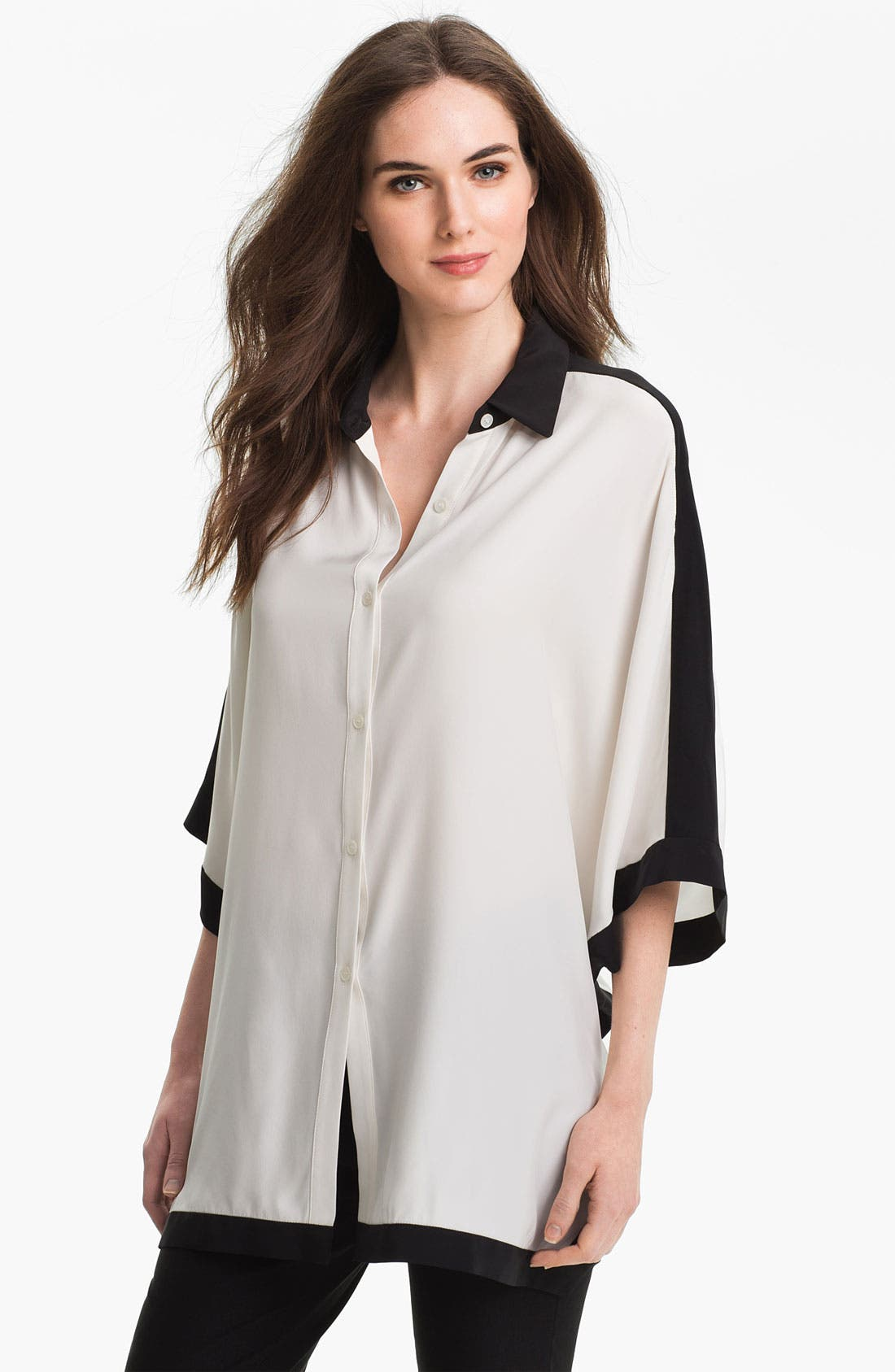 Main Image - Lafayette 148 New York 'Jodie' Matte Silk Shirt