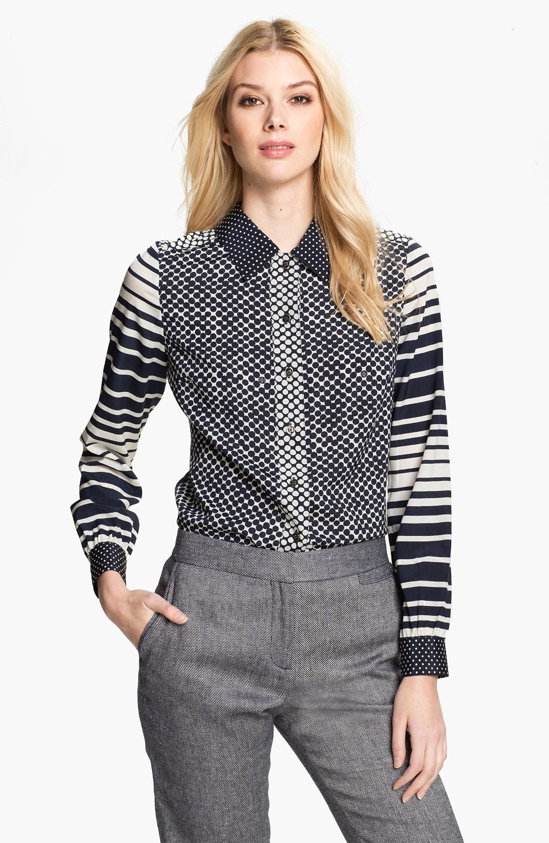 Main Image - Tory Burch 'Angelique' Stretch Silk Blouse