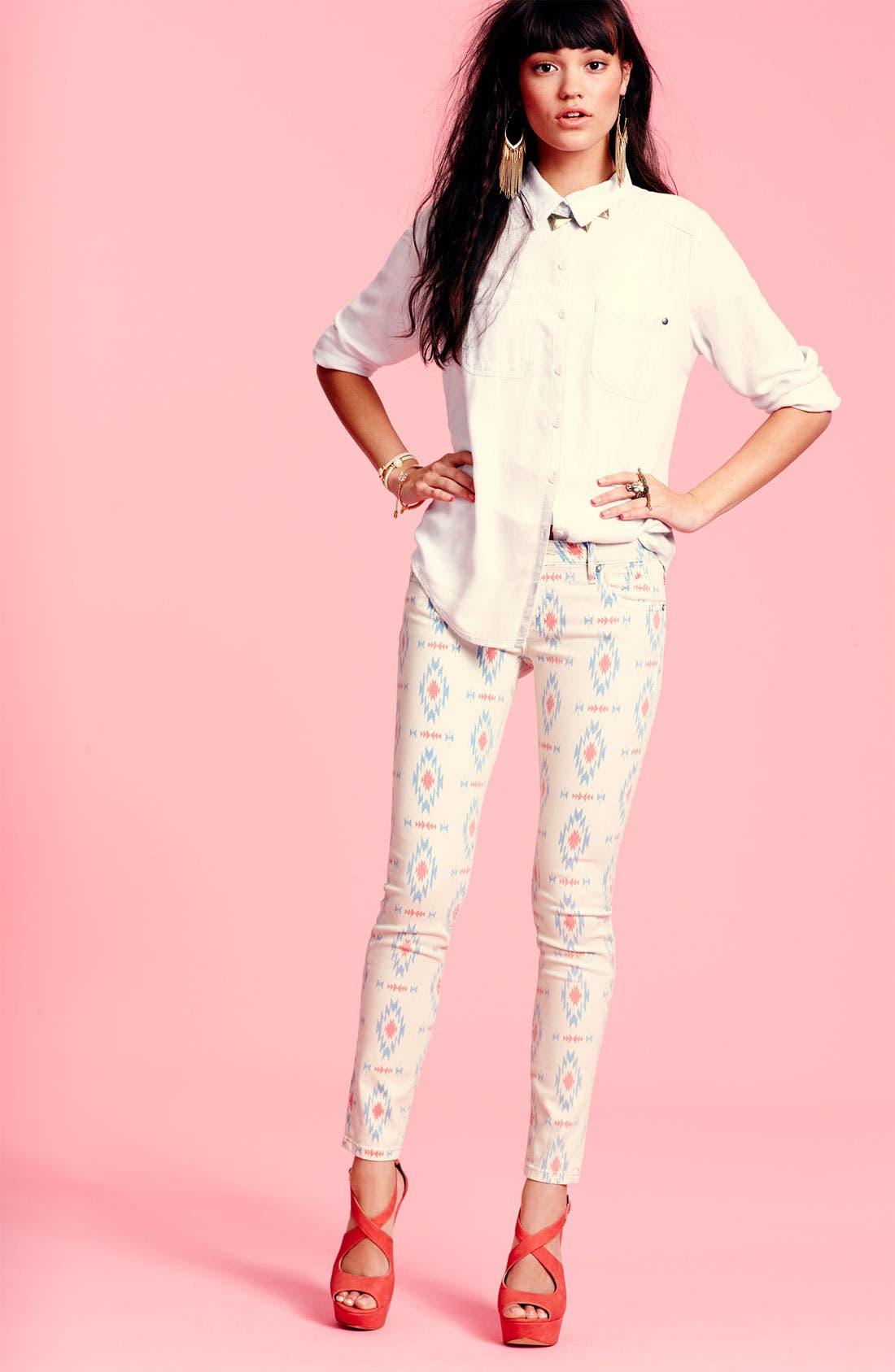 Alternate Image 4  - Vigoss Print Skinny Jeans (Juniors)