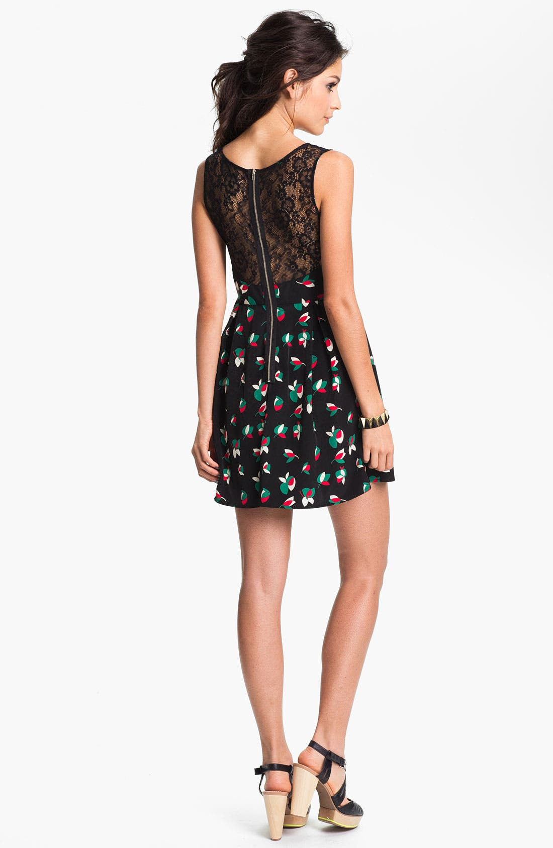 Alternate Image 2  - Soprano Lace Back Skater Dress (Juniors)