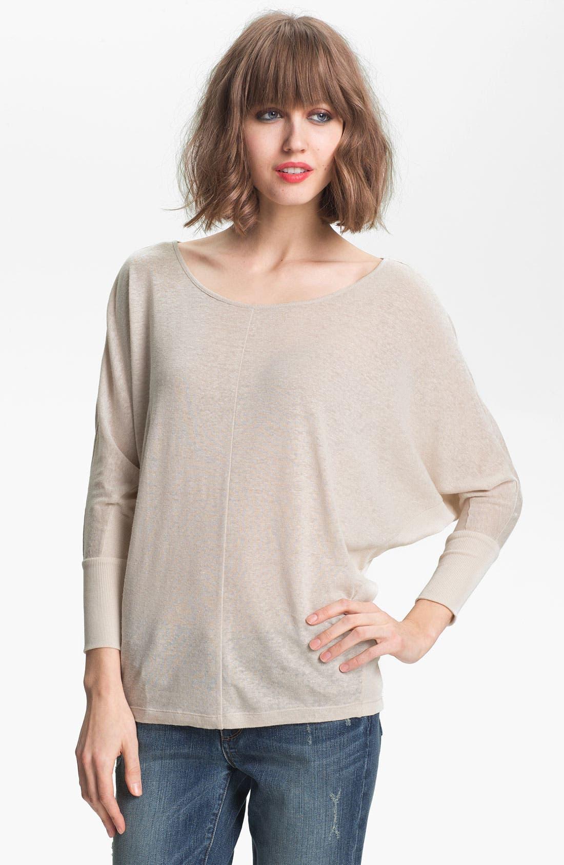 Alternate Image 1 Selected - Trouvé Sheer Linen Blend Dolman Top
