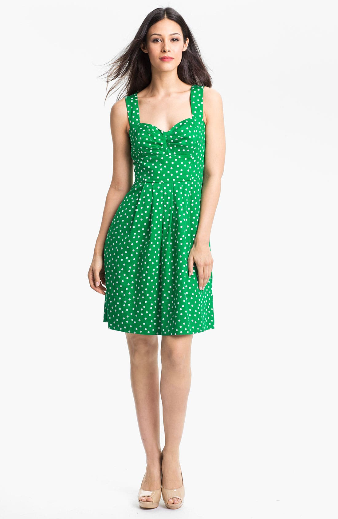Alternate Image 1 Selected - Donna Ricco Polka Dot Cotton Fit & Flare Dress