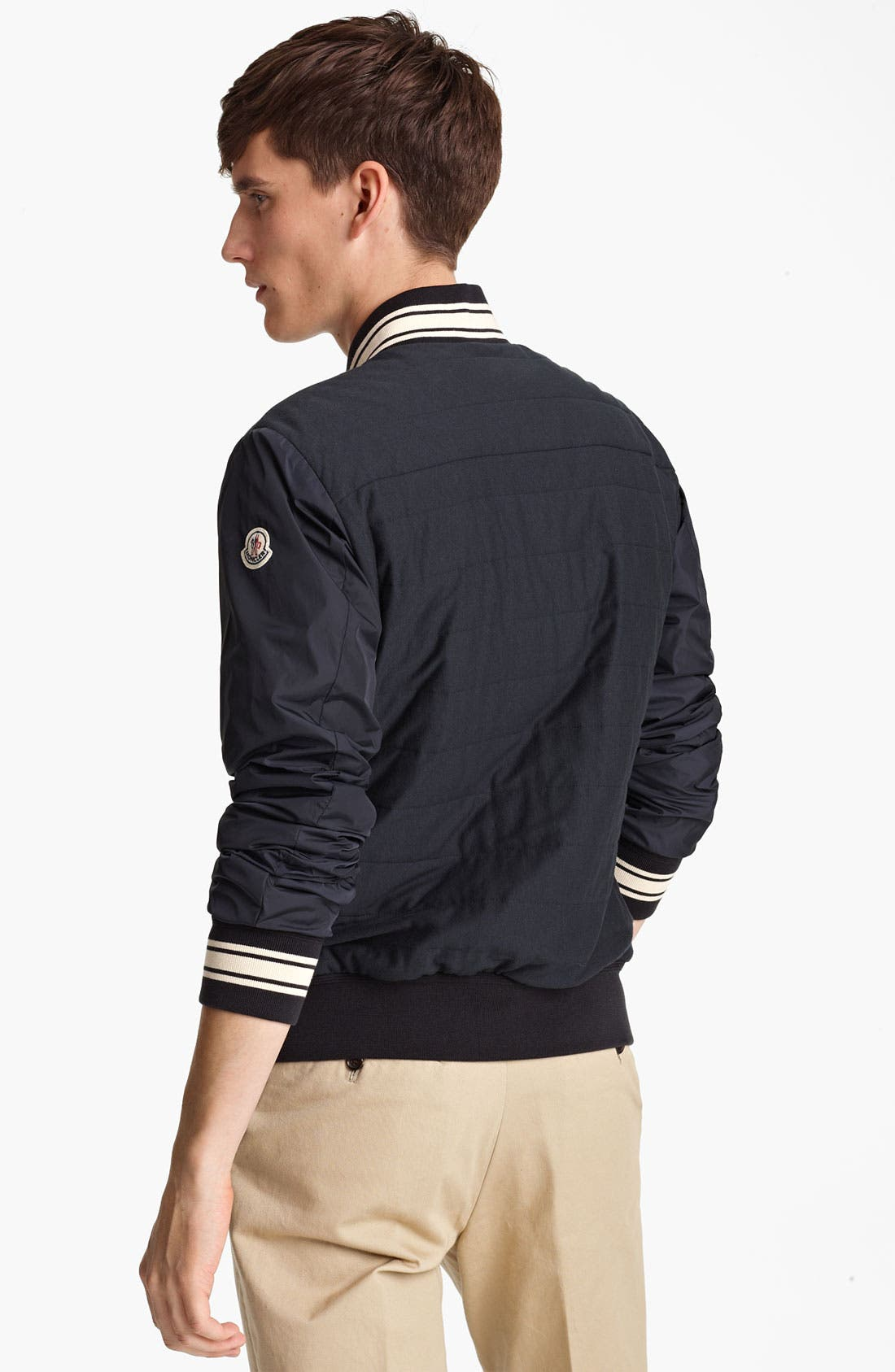 Alternate Image 2  - Moncler 'Luc' Cotton Jersey & Nylon Baseball Jacket