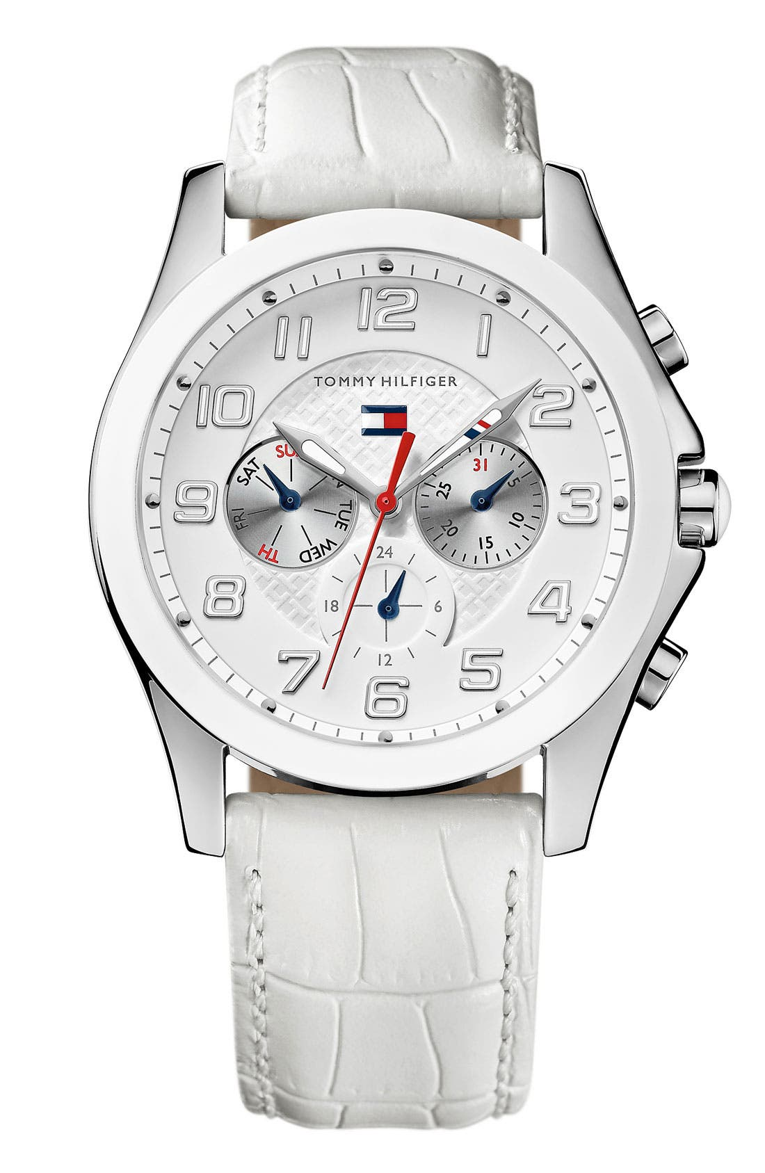 Main Image - Tommy Hilfiger Multifunction Embossed Leather Watch, 41mm