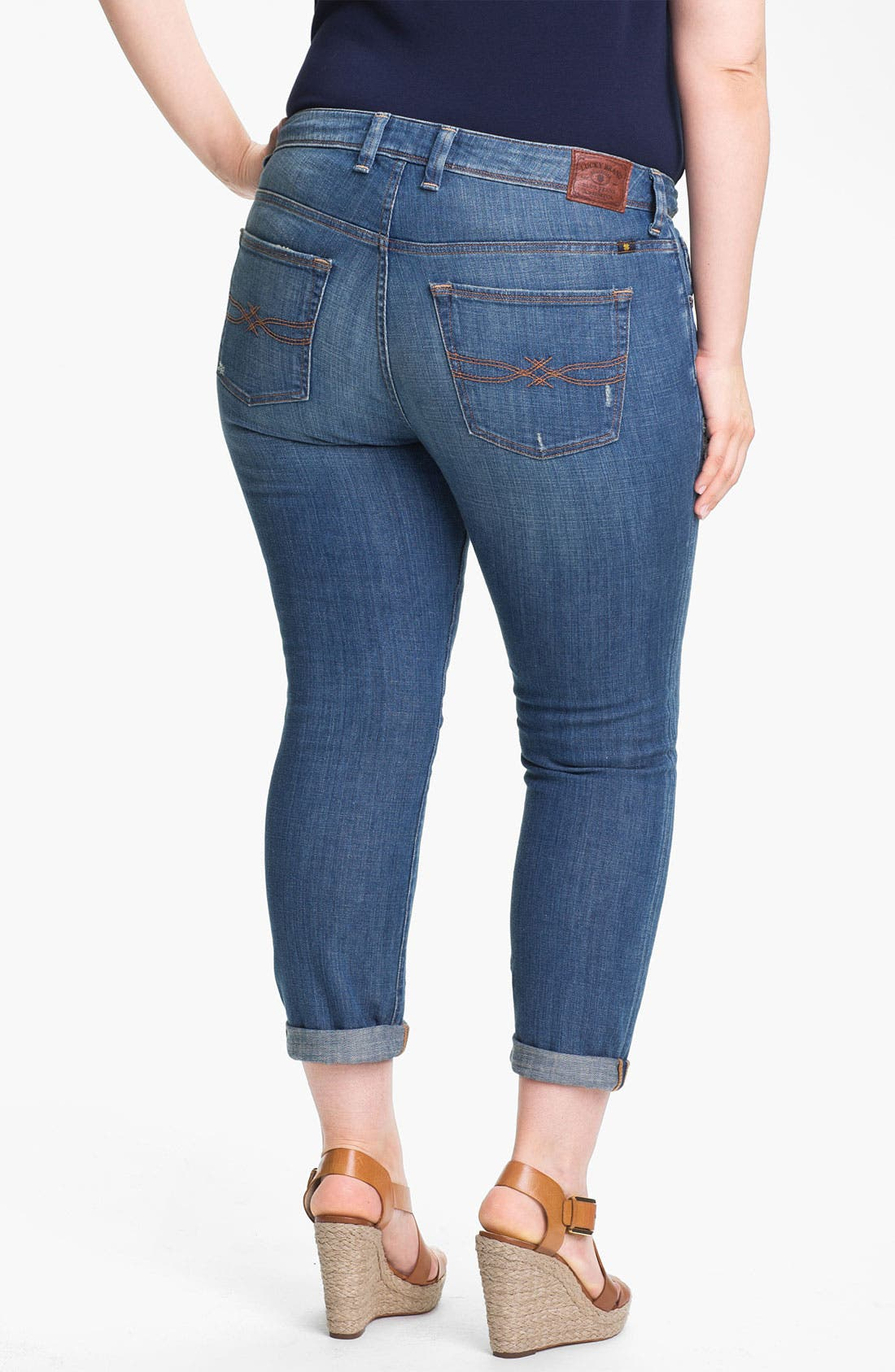 Alternate Image 2  - Lucky Brand 'Ginger' Boyfriend Jeans (Plus Size)