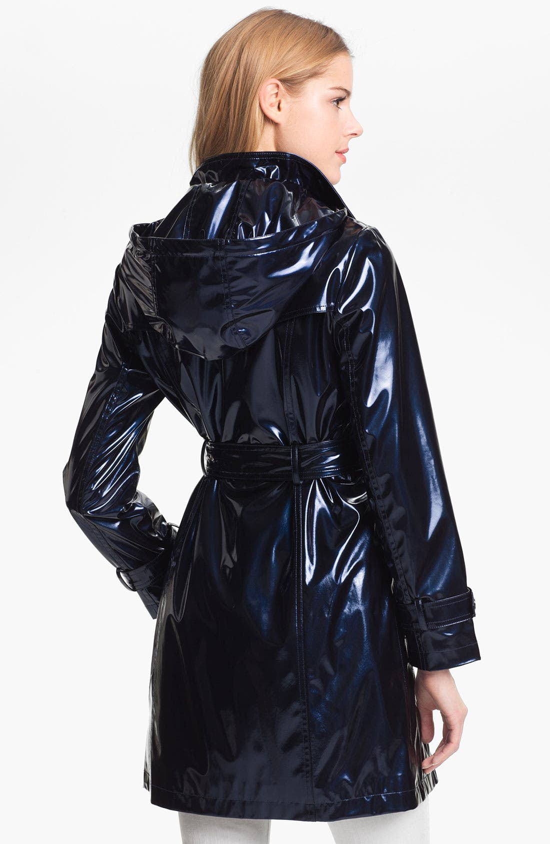 Alternate Image 3  - Ellen Tracy Pearlized Trench Coat (Petite) (Online Only)