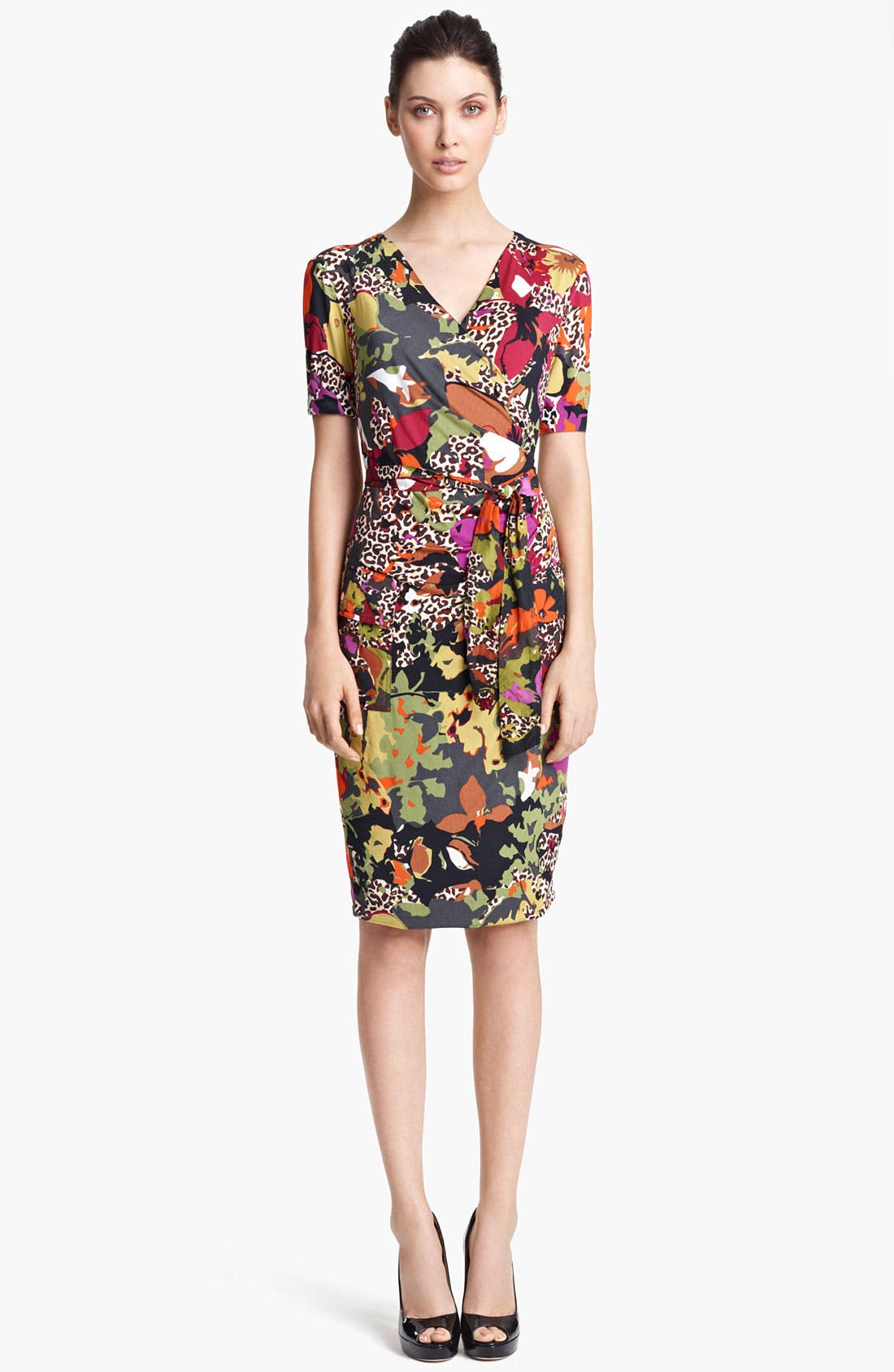 Main Image - Max Mara Belted Floral Print Jersey Dress