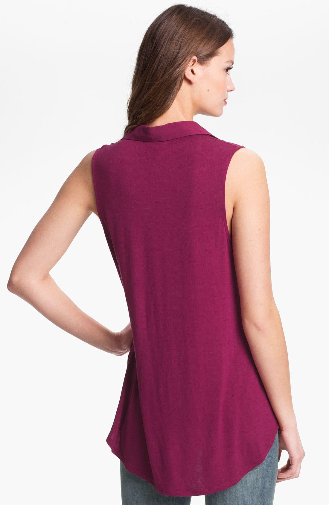 Alternate Image 2  - MOD.lusive Mixed Media Sleeveless Shirt