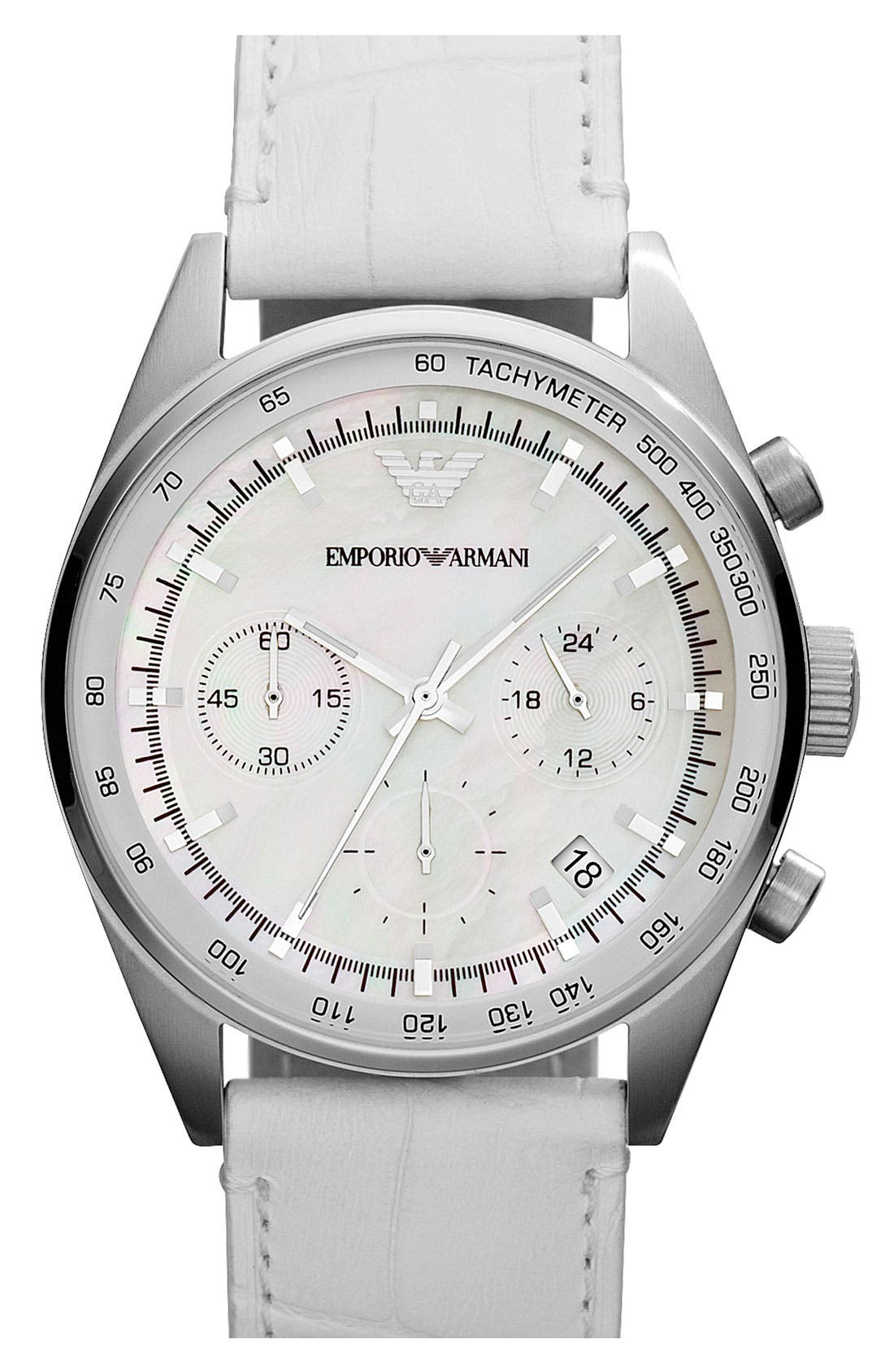 Alternate Image 1 Selected - Emporio Armani Chronograph Leather Strap Watch