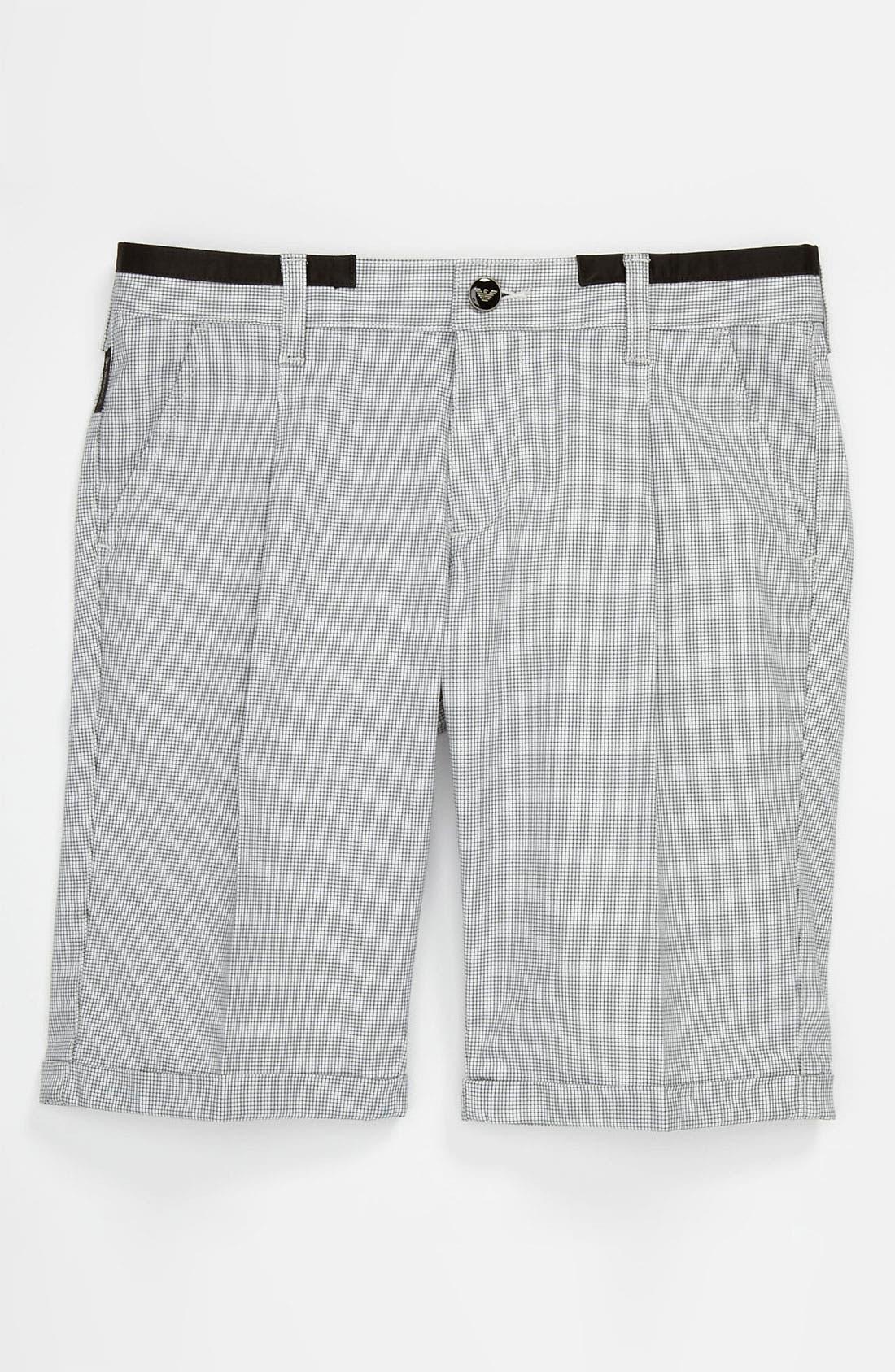 Main Image - Armani Junior Check Shorts (Big Boys)