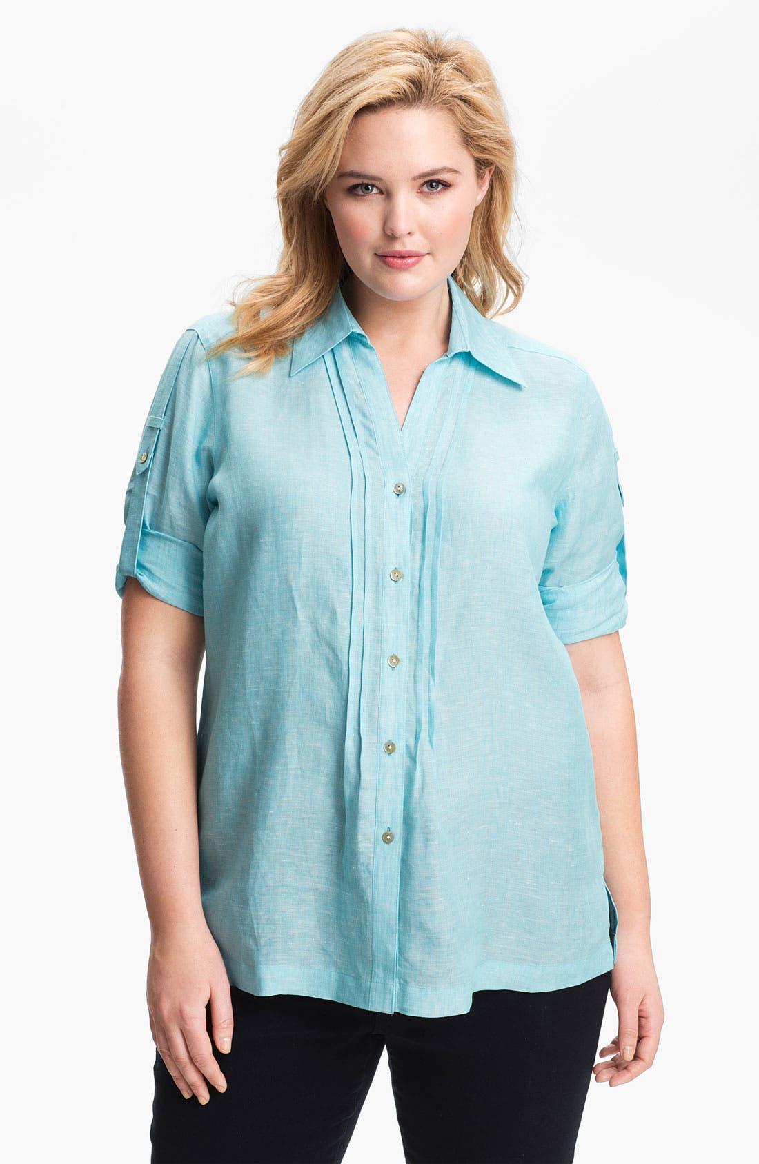 Main Image - Foxcroft Chambray Linen Shirt (Plus Size)