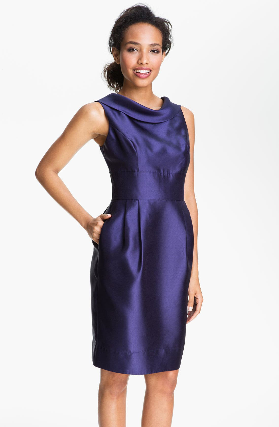 Main Image - Eliza J Cowl Neck Faille Tulip Dress