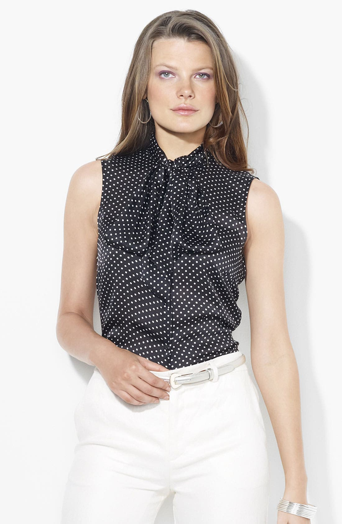 Alternate Image 1 Selected - Lauren Ralph Lauren Tie Neck Silk Blouse (Petite) (Online Only)