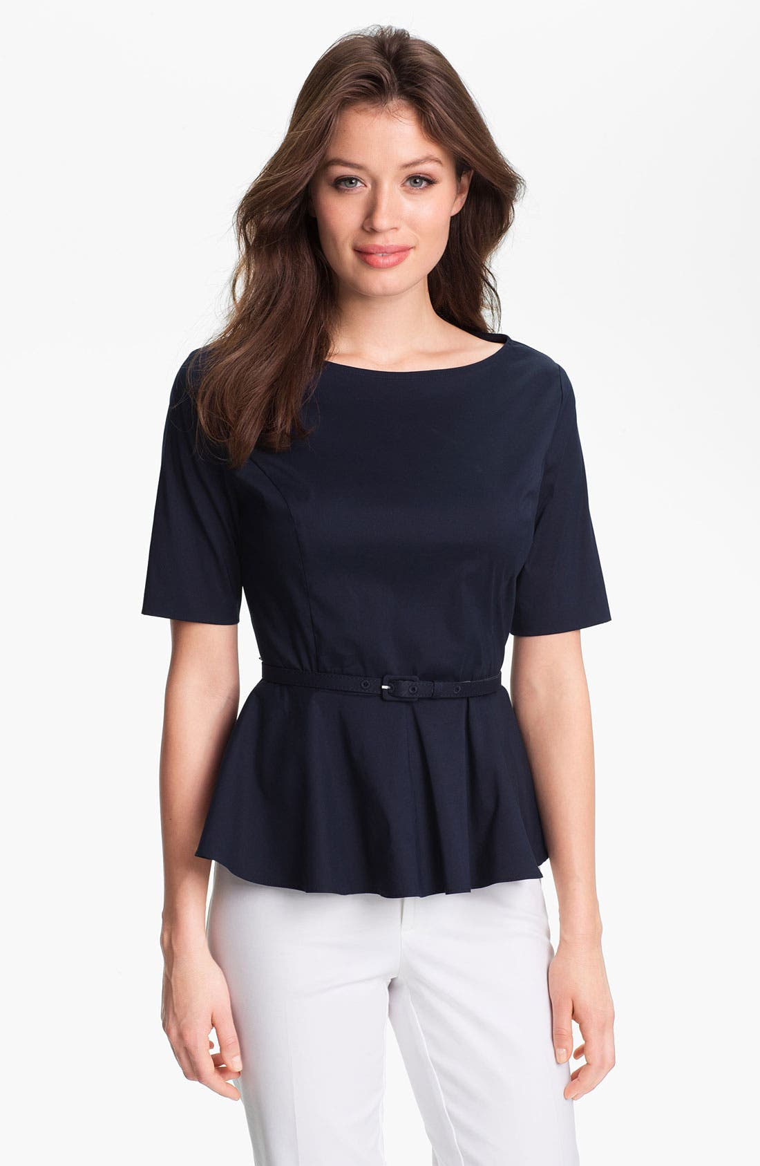 Alternate Image 1 Selected - Adrianna Papell Belted Peplum Blouse