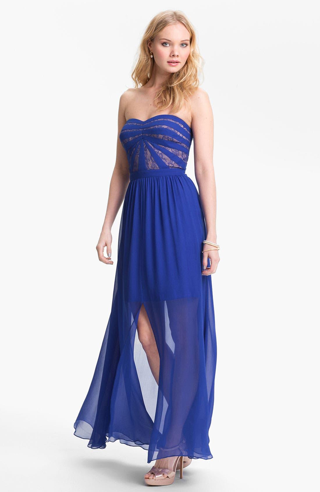 Main Image - Aidan by Aidan Mattox Strapless Lace & Chiffon Dress