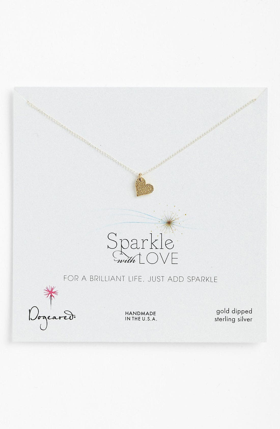 Alternate Image 1 Selected - Dogeared 'Sparkle with Love' Heart Pendant Necklace