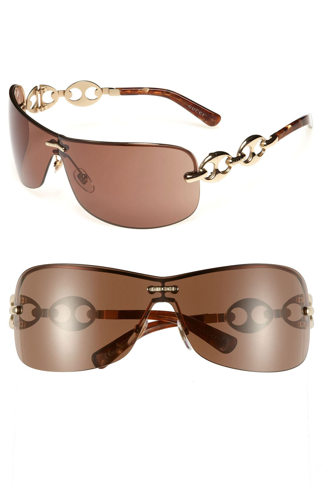 Alternate Image 1 Selected - Gucci Rimless Shield Sunglasses with Chain Detail