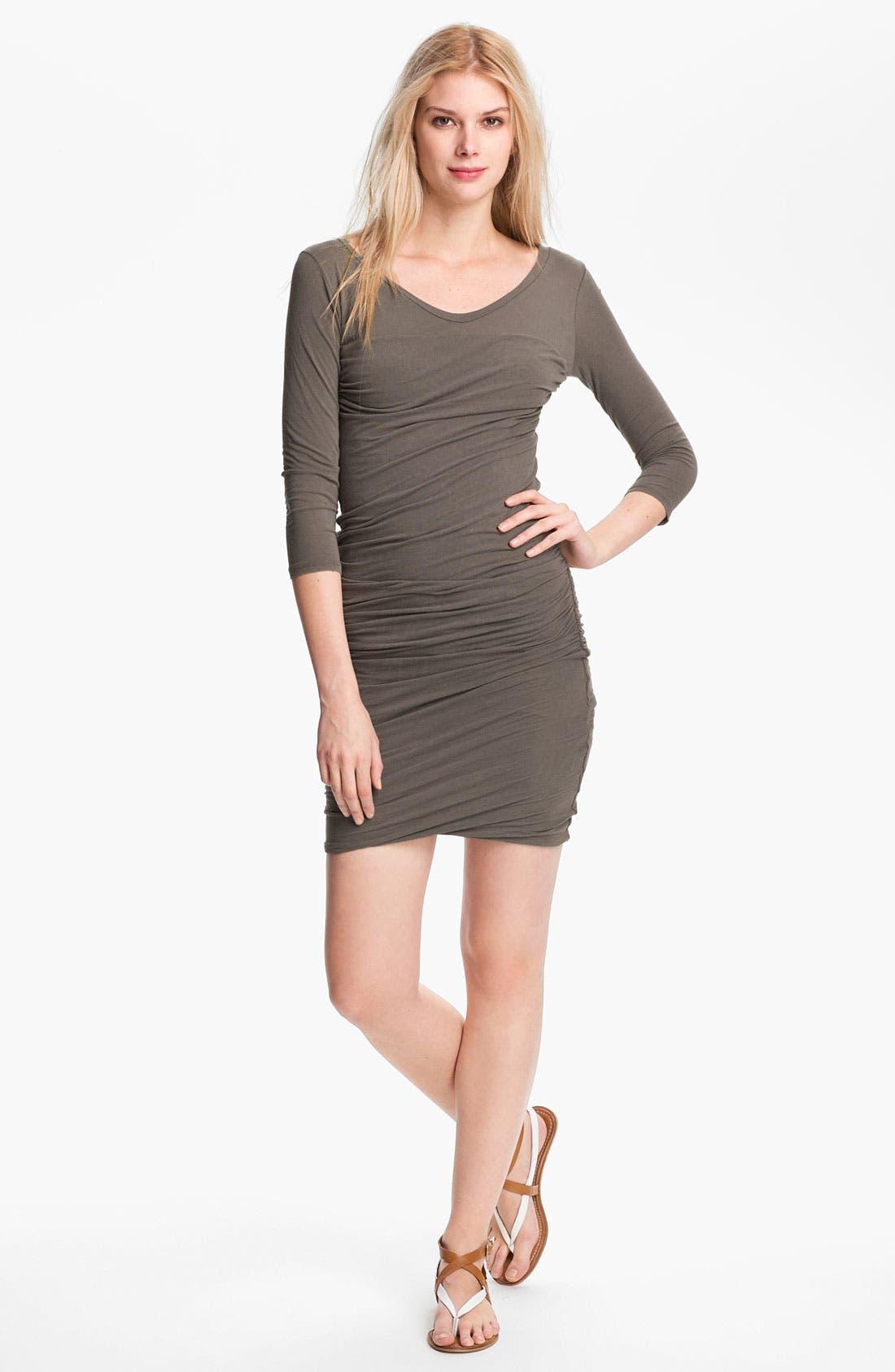 Alternate Image 1  - James Perse Ruched V-Neck Dress