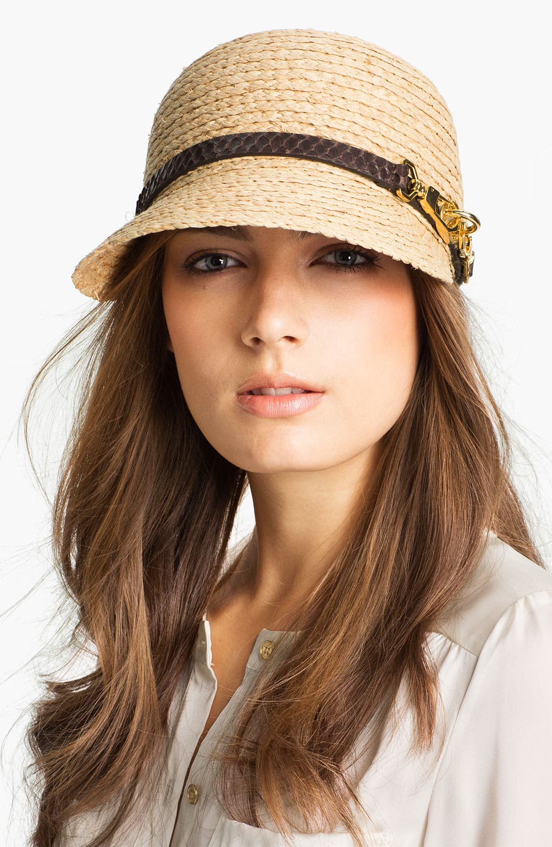 Alternate Image 1 Selected - Rachel Zoe Raffia Newsboy Cap