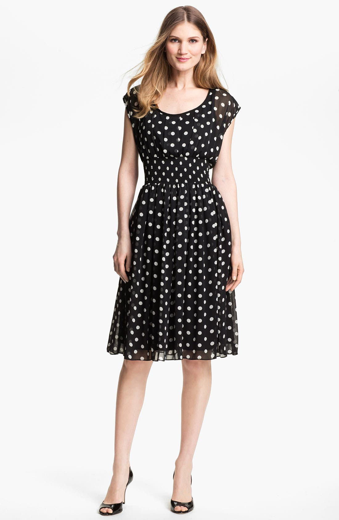 Main Image - Isaac Mizrahi New York Polka Dot Chiffon Dress