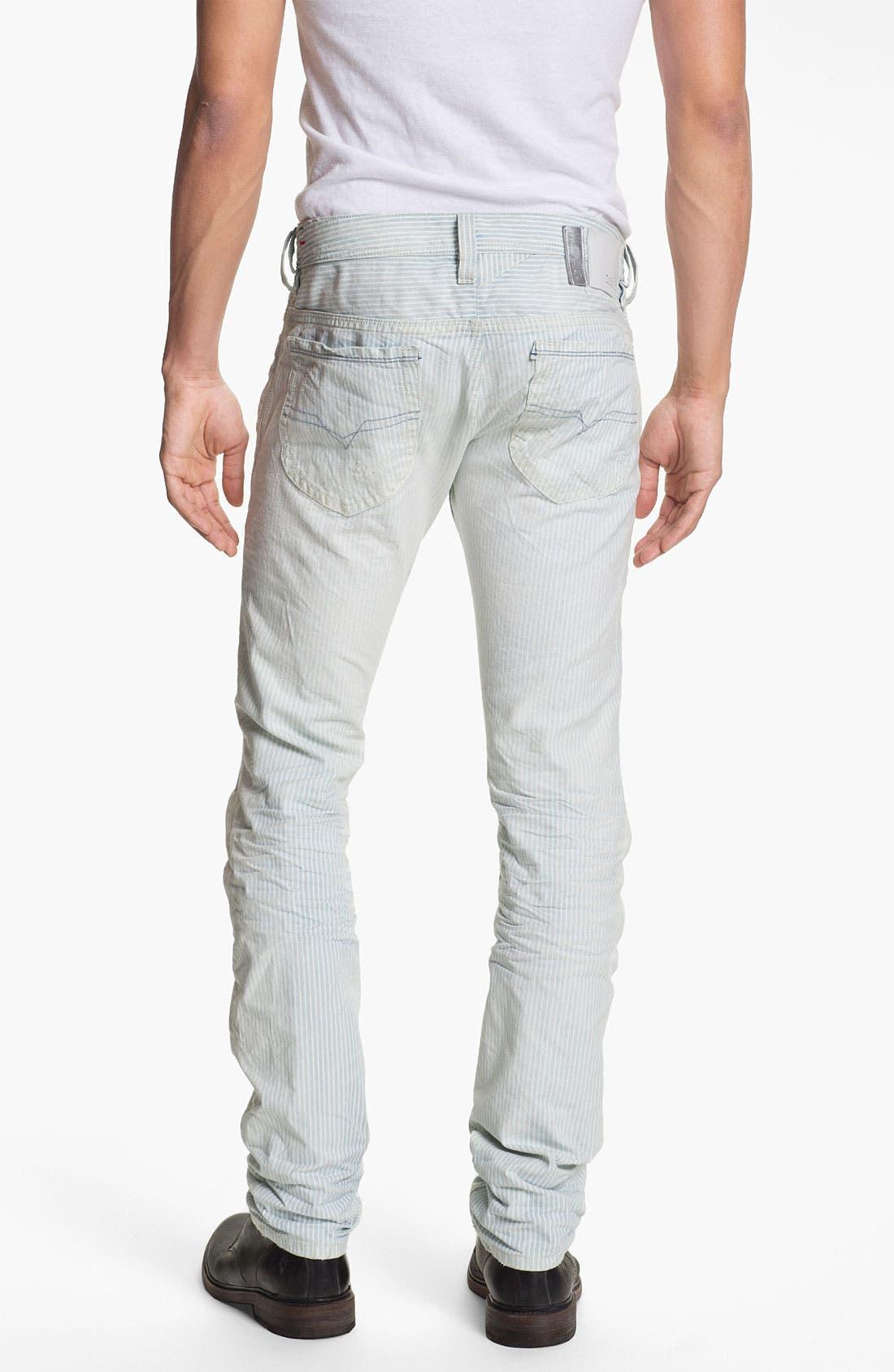 Alternate Image 1 Selected - DIESEL® 'Thanaz' Slim Straight Leg Jeans (Blue Stripe)
