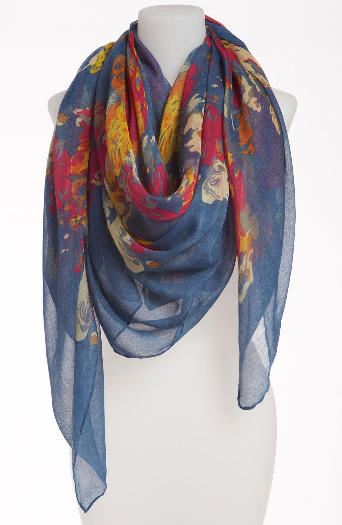 Main Image - David & Young Sheer Floral Scarf