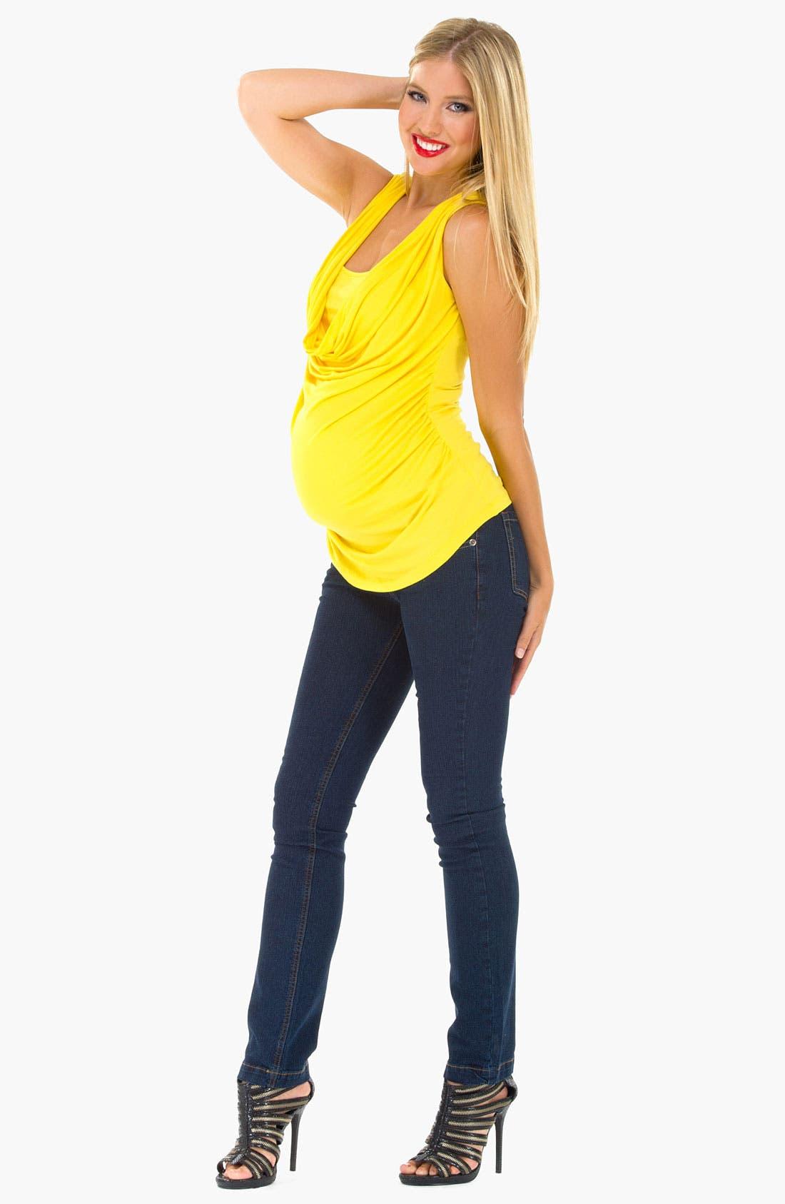 Alternate Image 2  - Olian Cowl Neck Sleeveless Maternity Top
