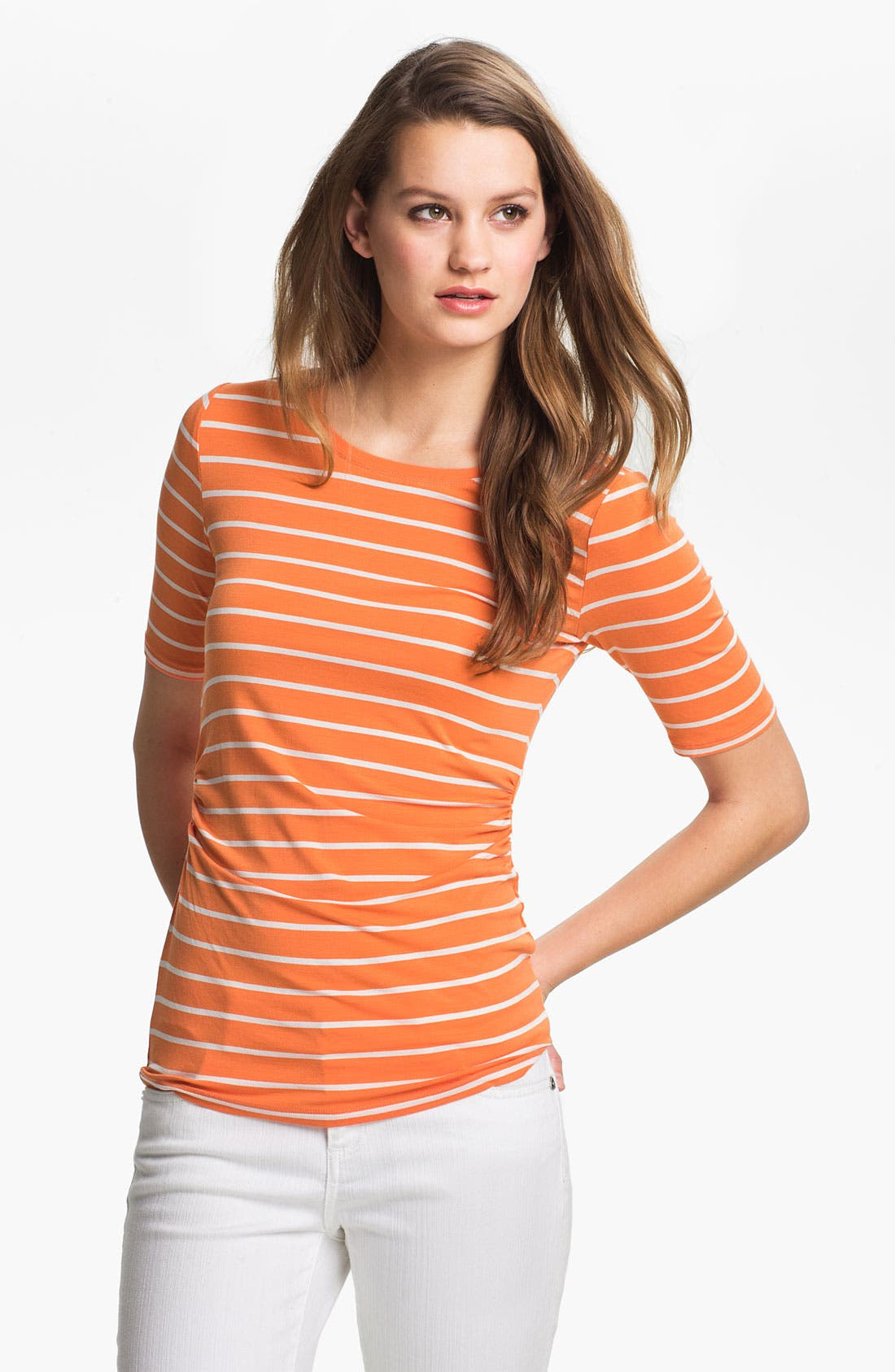 Alternate Image 1 Selected - Vince Camuto Elbow Sleeve Stripe Tee (Petite)