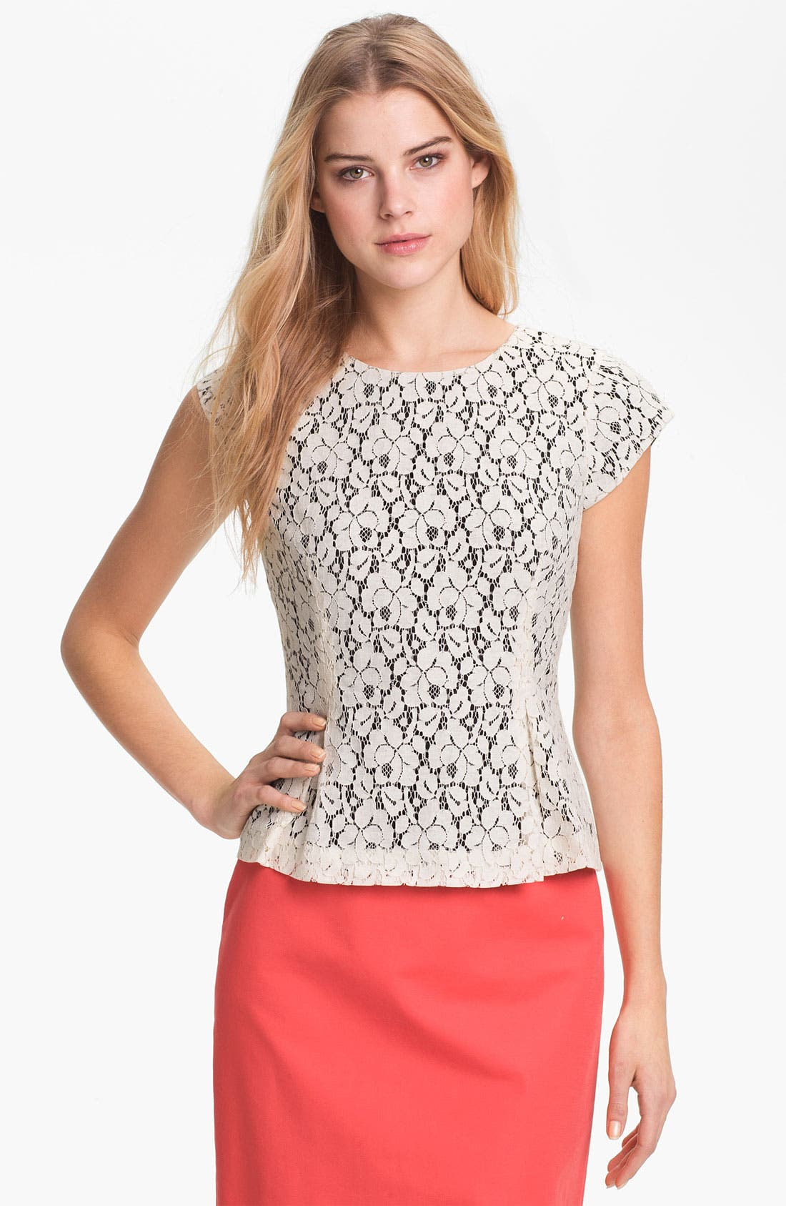 Alternate Image 1 Selected - Halogen® Lace Peplum Top