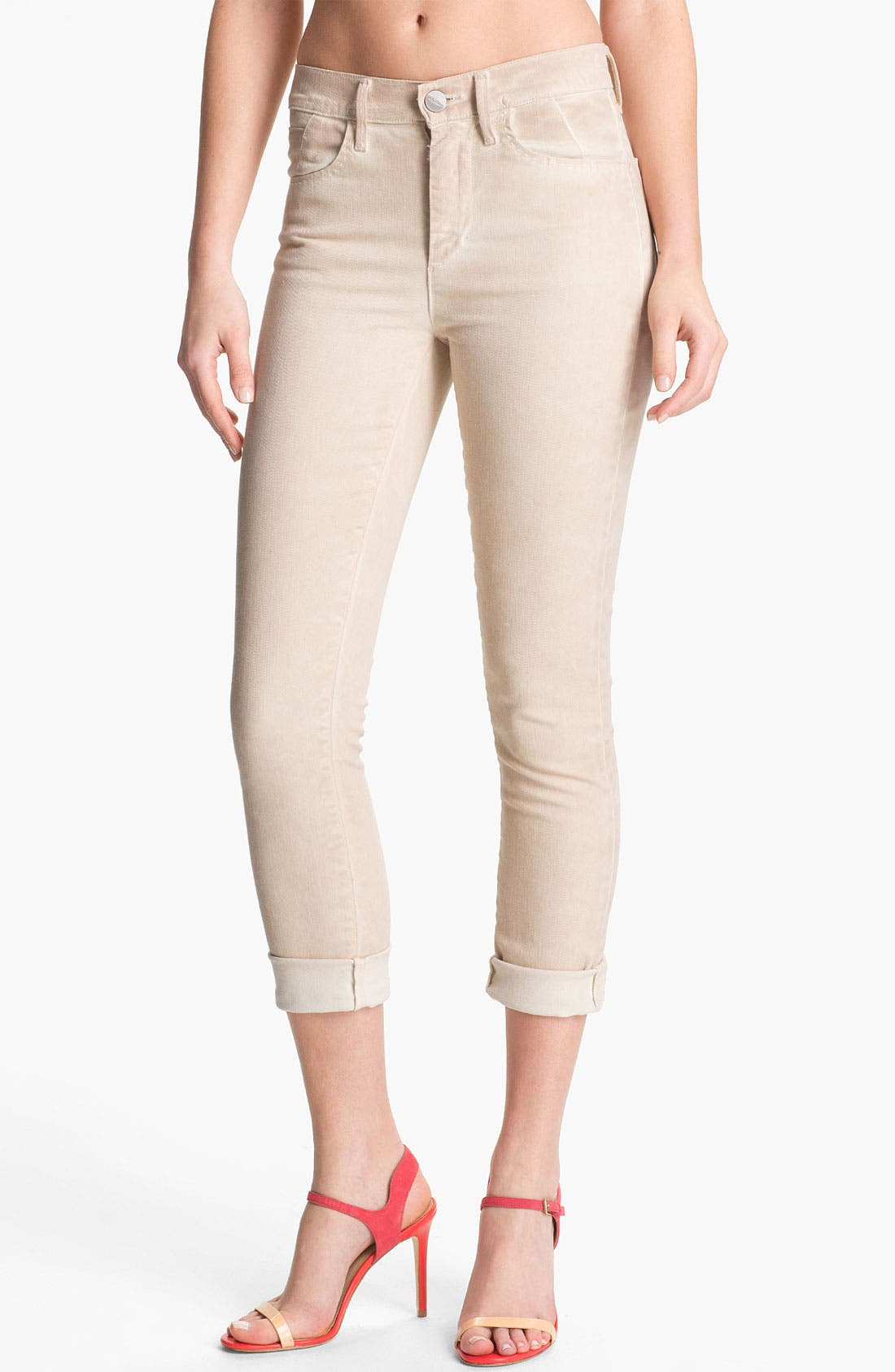 Main Image - Goldsign 'Jenny' High Waist Crop Skinny Jeans (Cream)