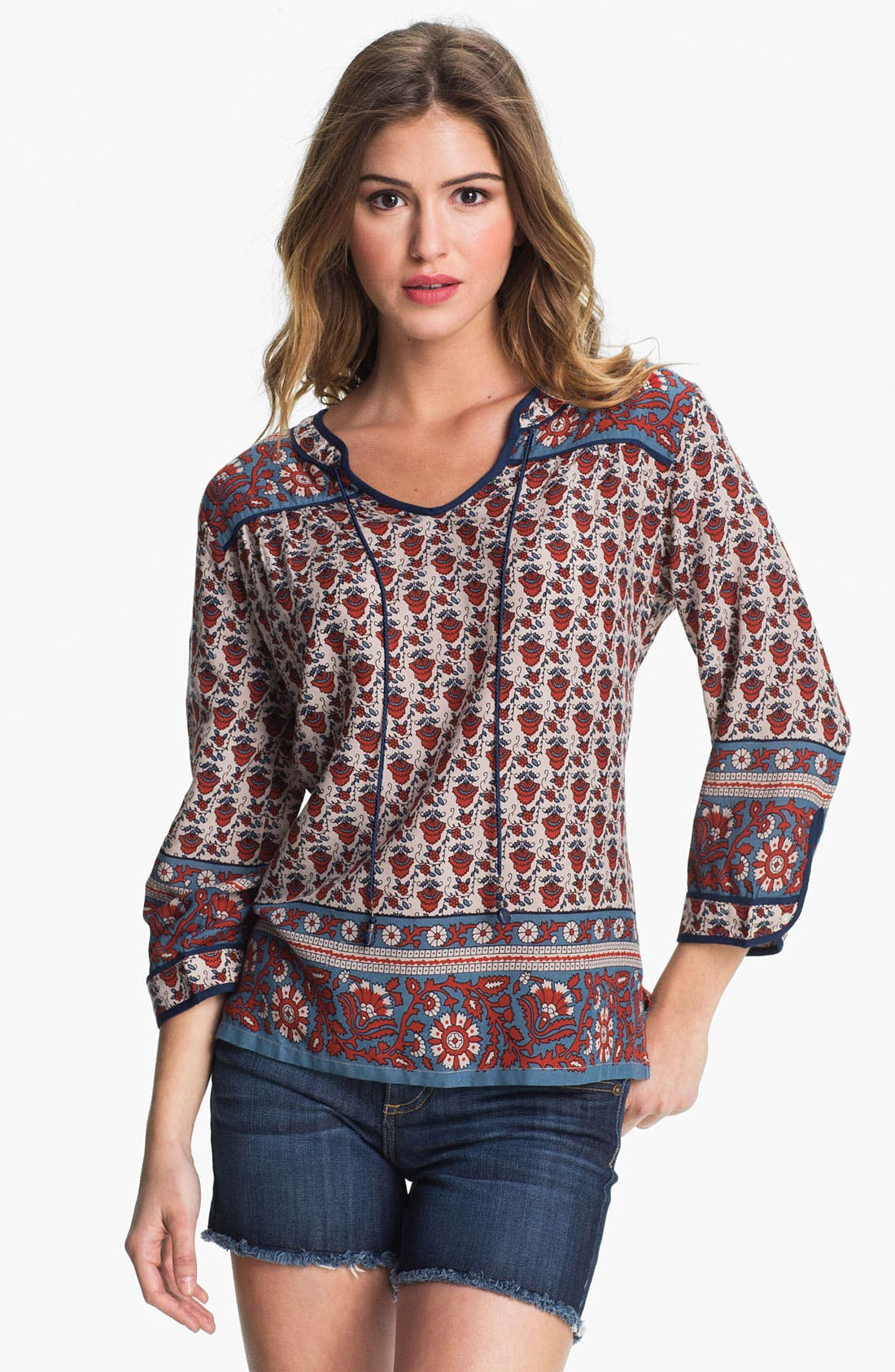 Alternate Image 1 Selected - Lucky Brand 'Betton - Indian Gate Border' Top