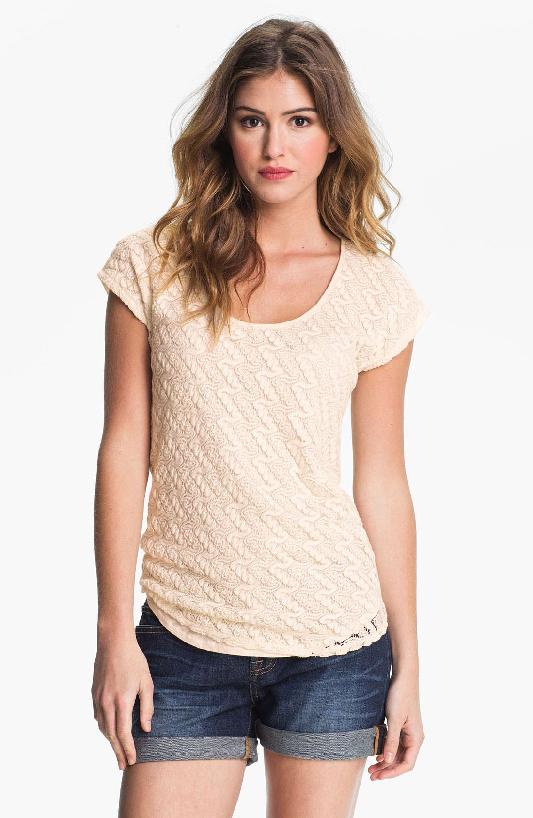 Alternate Image 1 Selected - Lucky Brand Lace Front Tee