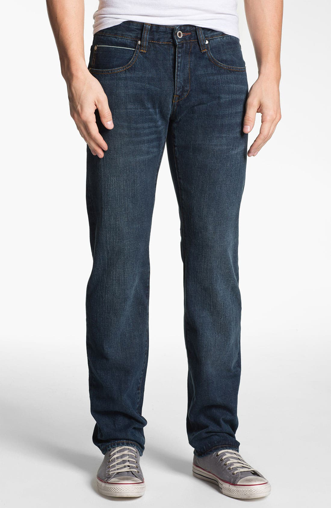 Alternate Image 1 Selected - ROAD 'Selvedge' Straight Fit Jeans (Dark Wash)