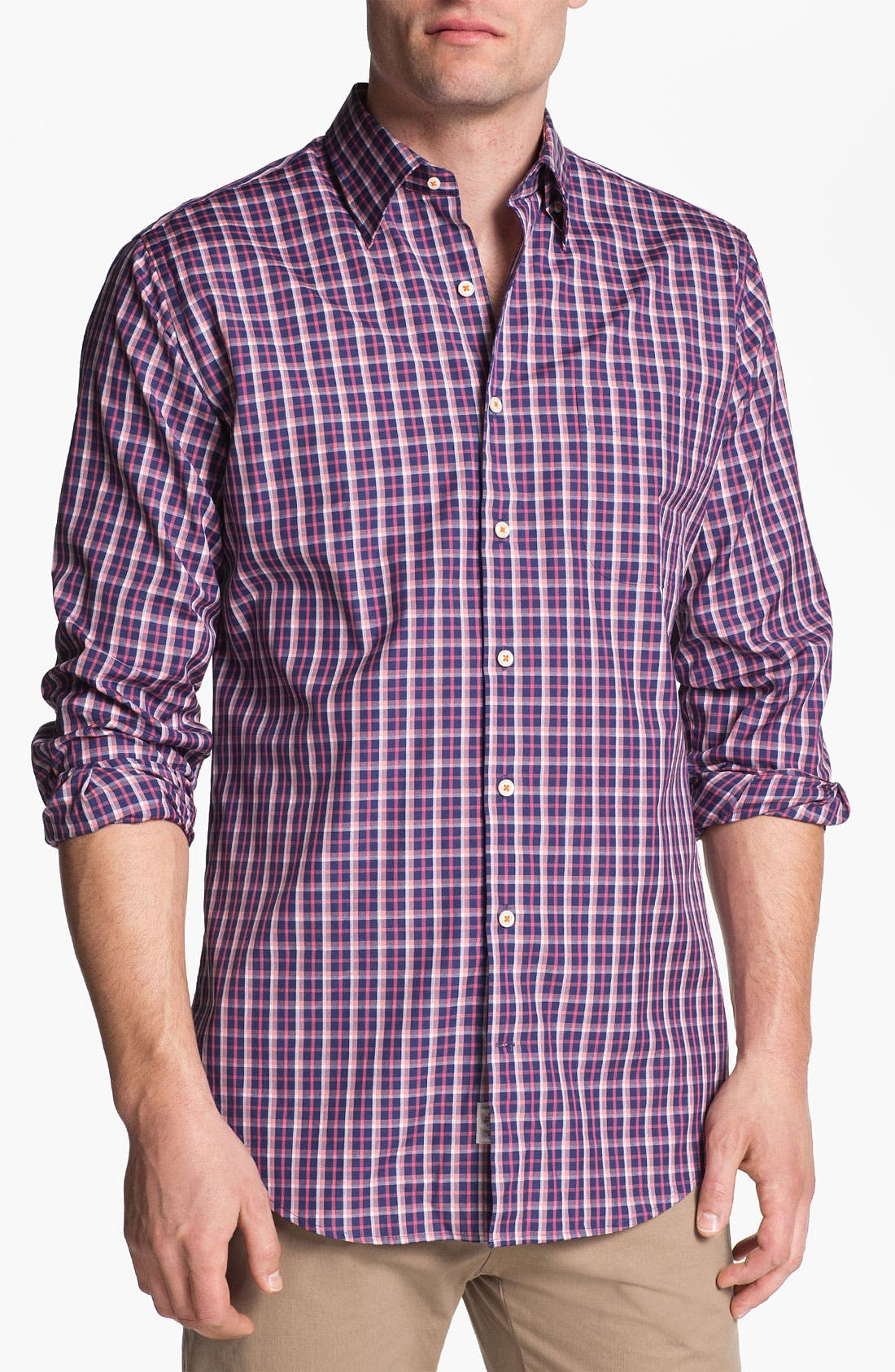 Main Image - Peter Millar 'Amsterdam' Regular Fit Plaid Sport Shirt