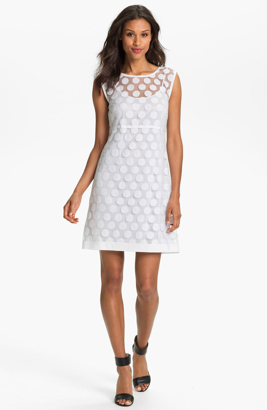 Main Image - Laundry by Shelli Segal Polka Dot Lace A-Line Dress